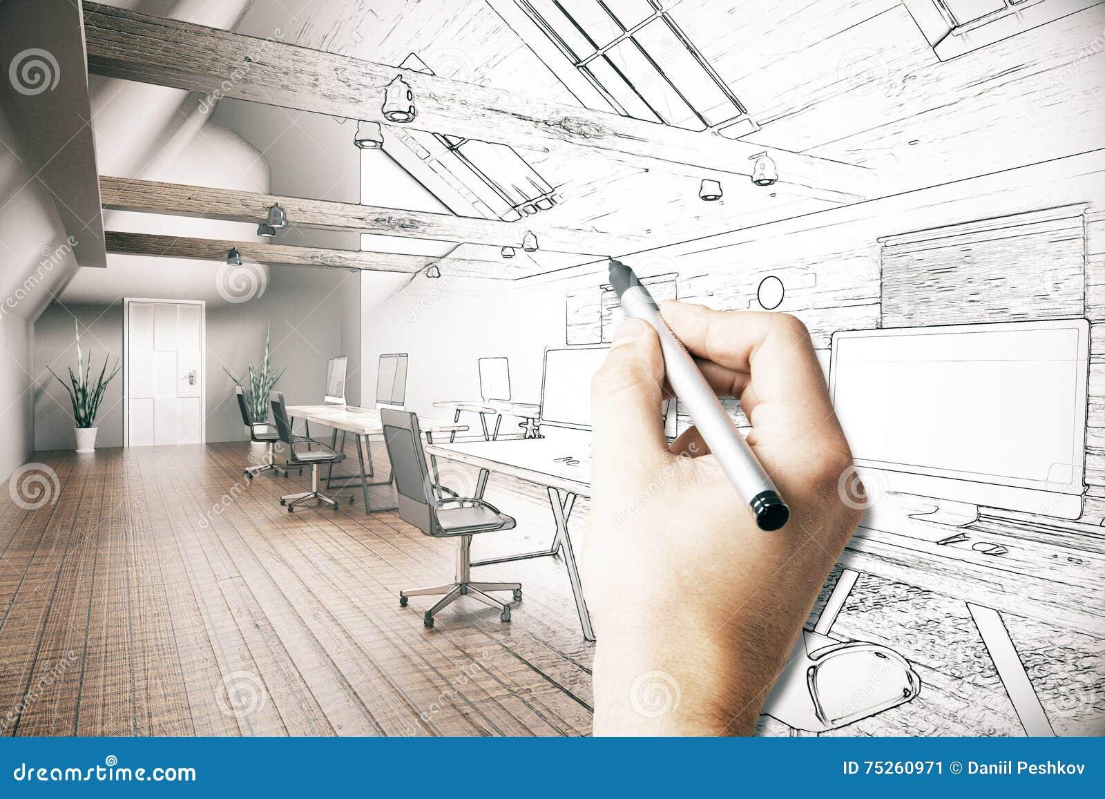 Mężczyzna rysunkowego biura projekt