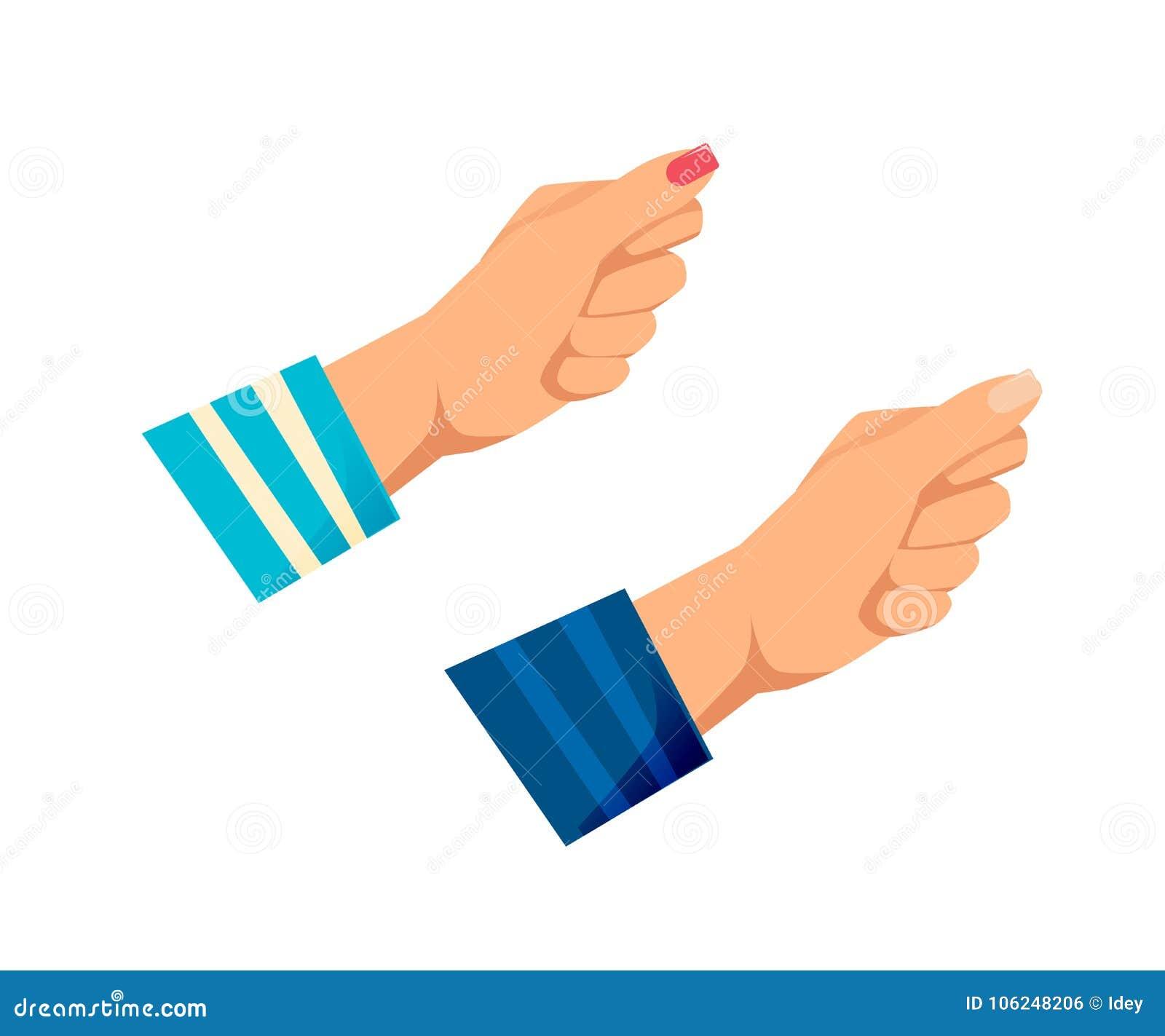 Mężczyzna ` s, kobiet s ręki z gestami Opór, siła,