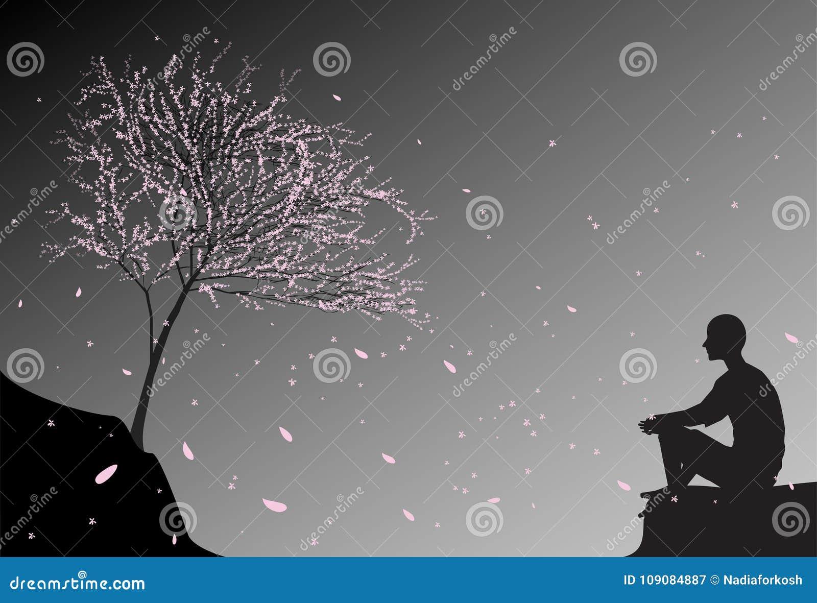 Mężczyzna siedzi na skale, spojrzeniu przy spada wiśni menchii liśćmi i myśli o sensie życie ludzkie, zen medytacja blisko