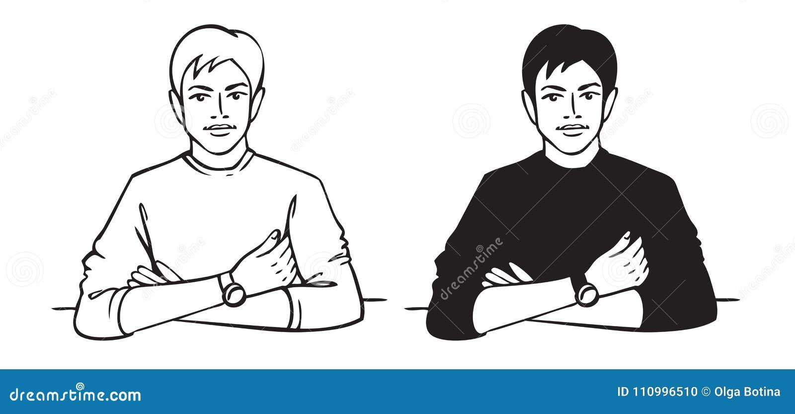 Mężczyzna siedzi przy stołem
