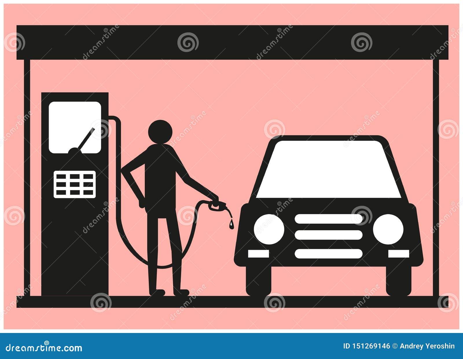 Mężczyzna tankuje samochód przy stacją benzynową