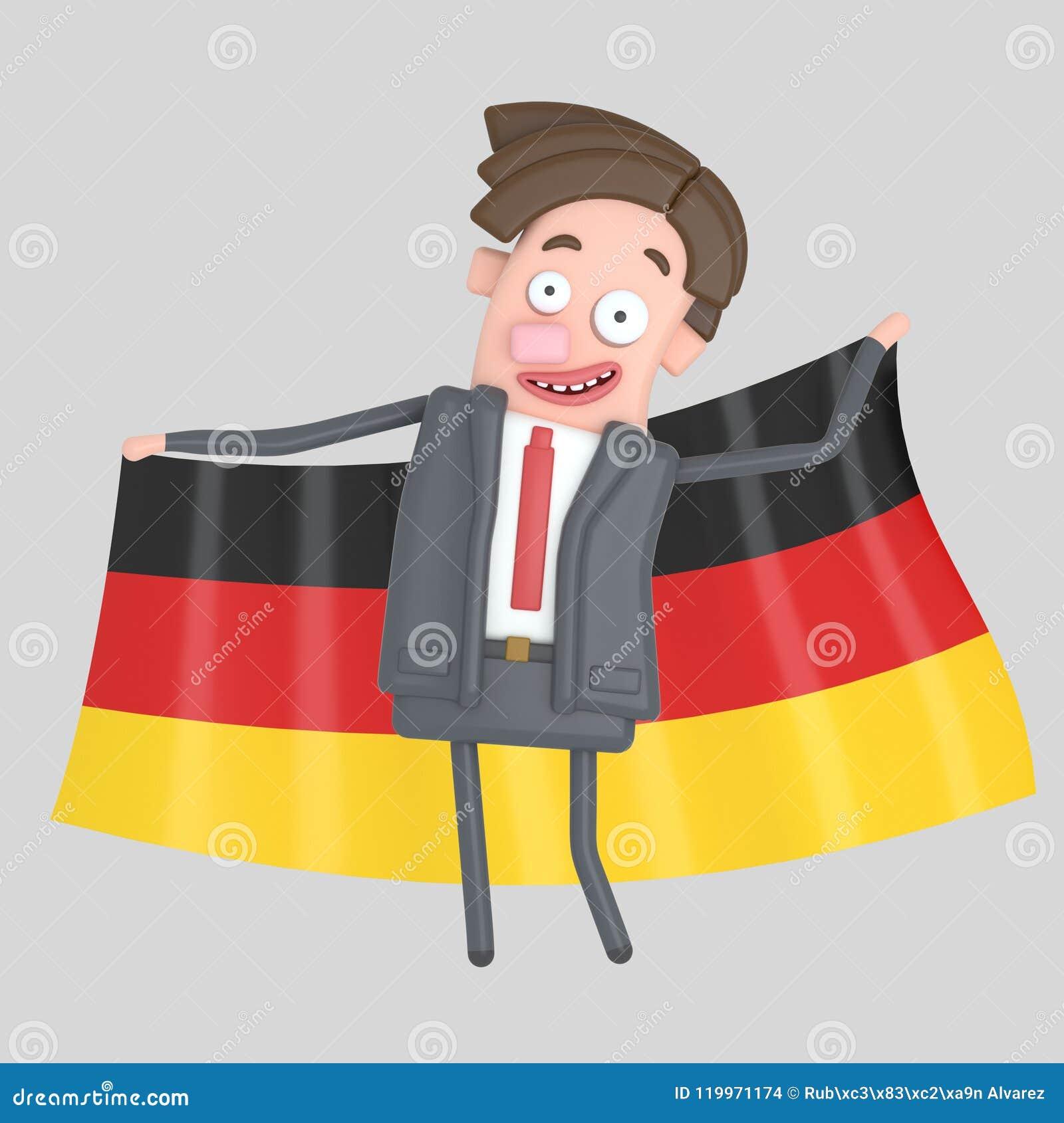 Mężczyzna trzyma dużą flaga Niemcy ilustracja 3 d