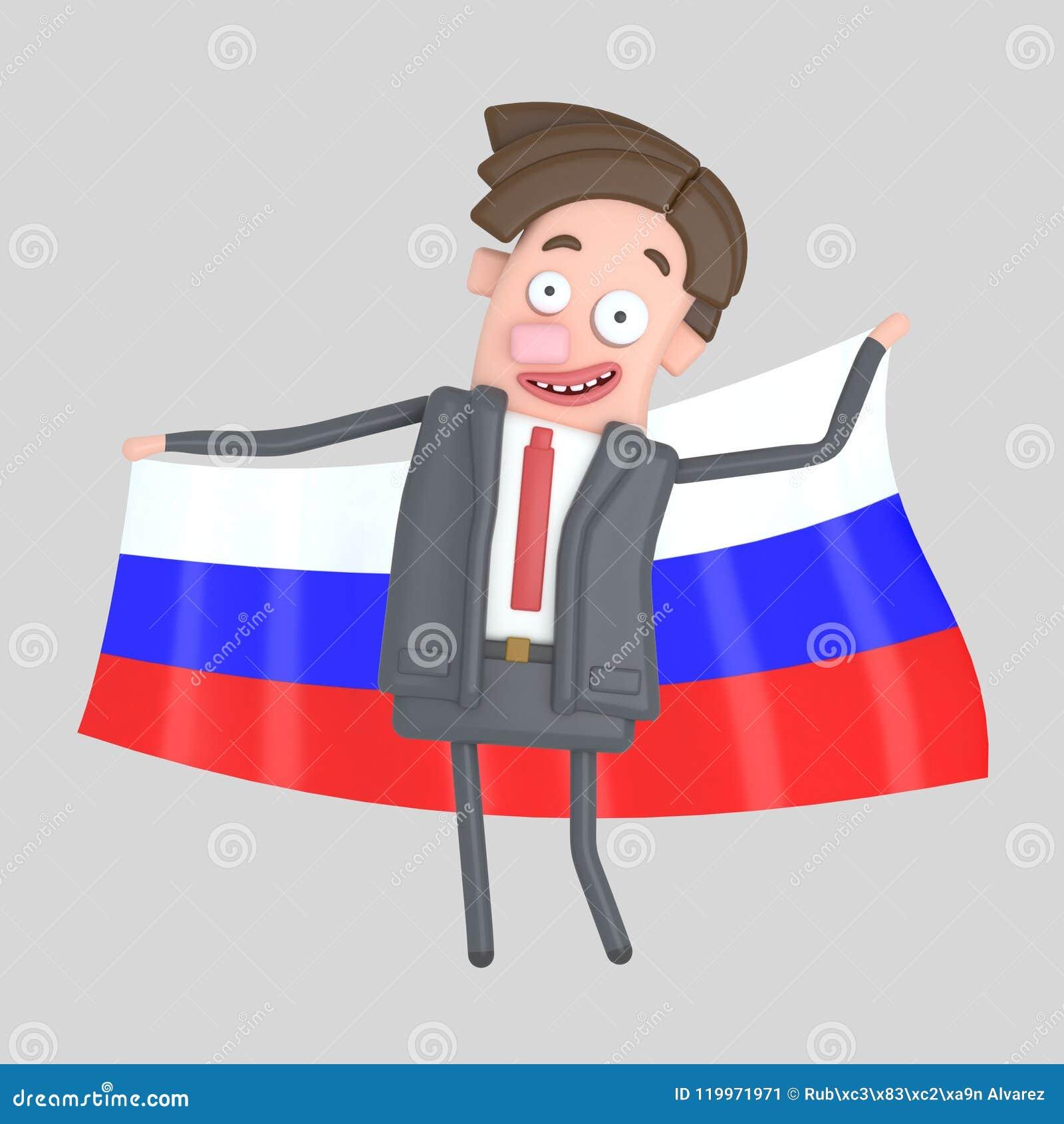 Mężczyzna trzyma dużą flaga Rosja ilustracja 3 d