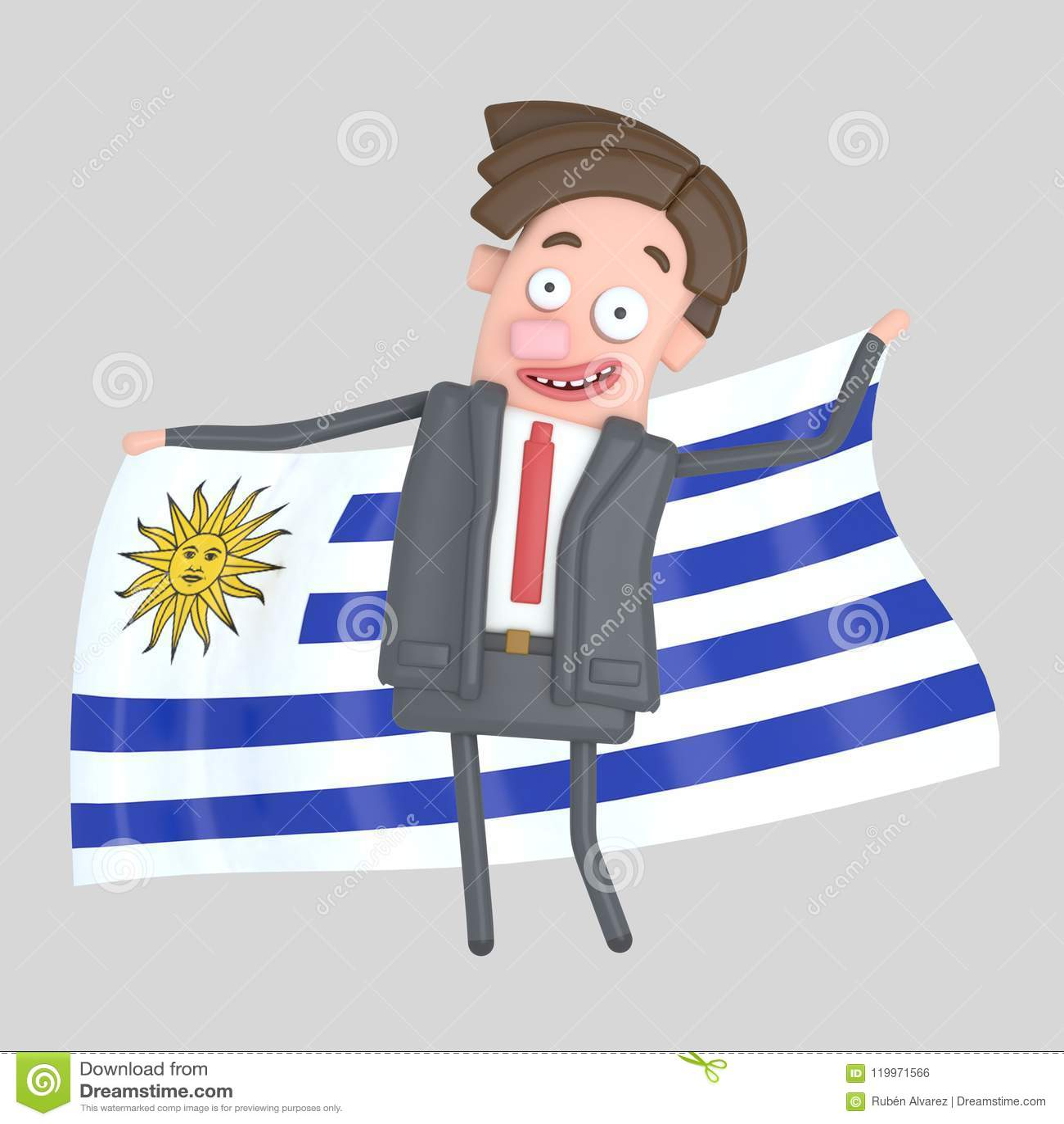 Mężczyzna trzyma dużą flaga Urugwaj ilustracja 3 d