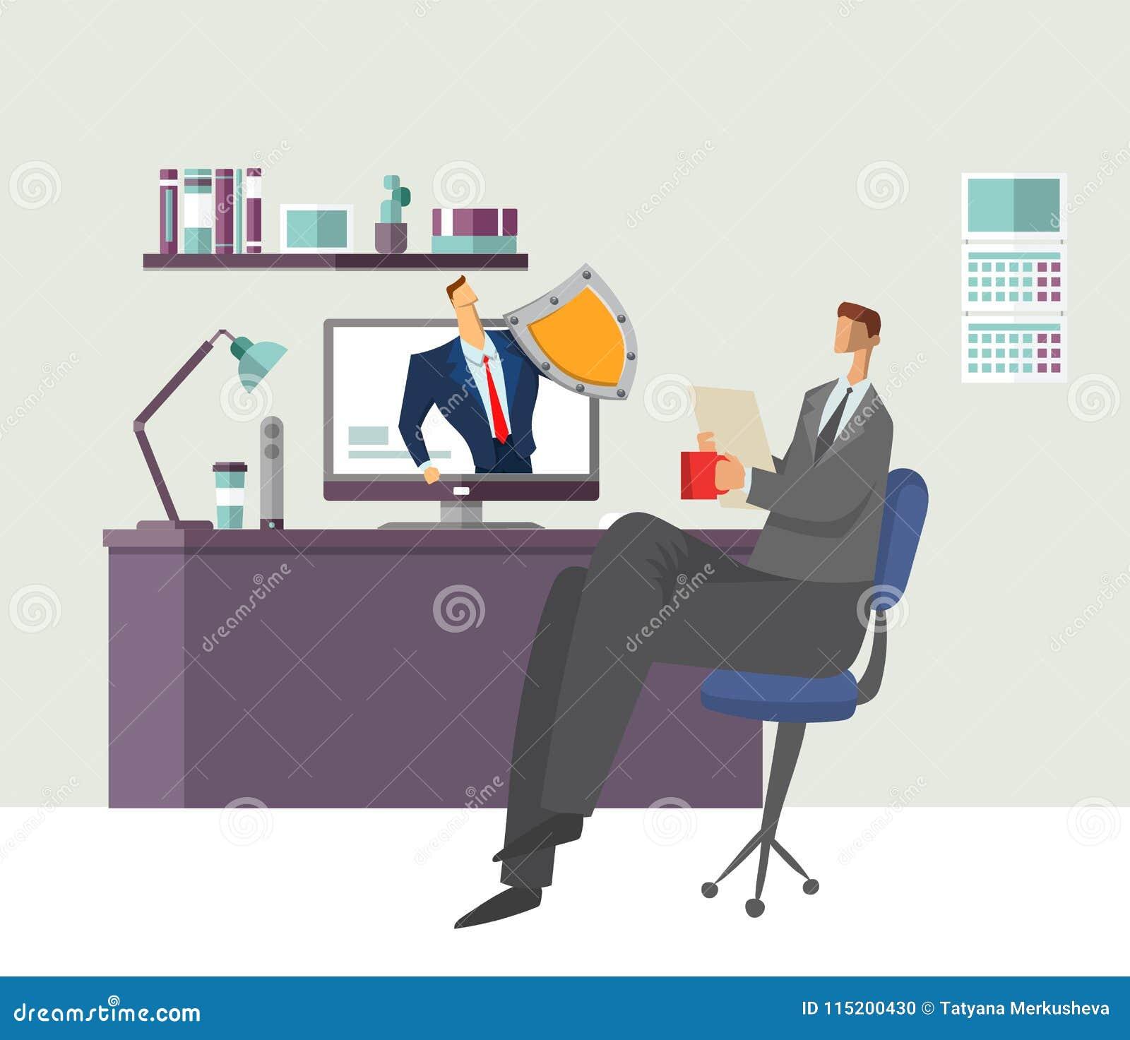 Mężczyzna w biurowym czytanie dokumencie z ochronionym mężczyzna ochrania jego komputer dane ogłoszenia towarzyskiego target1444_