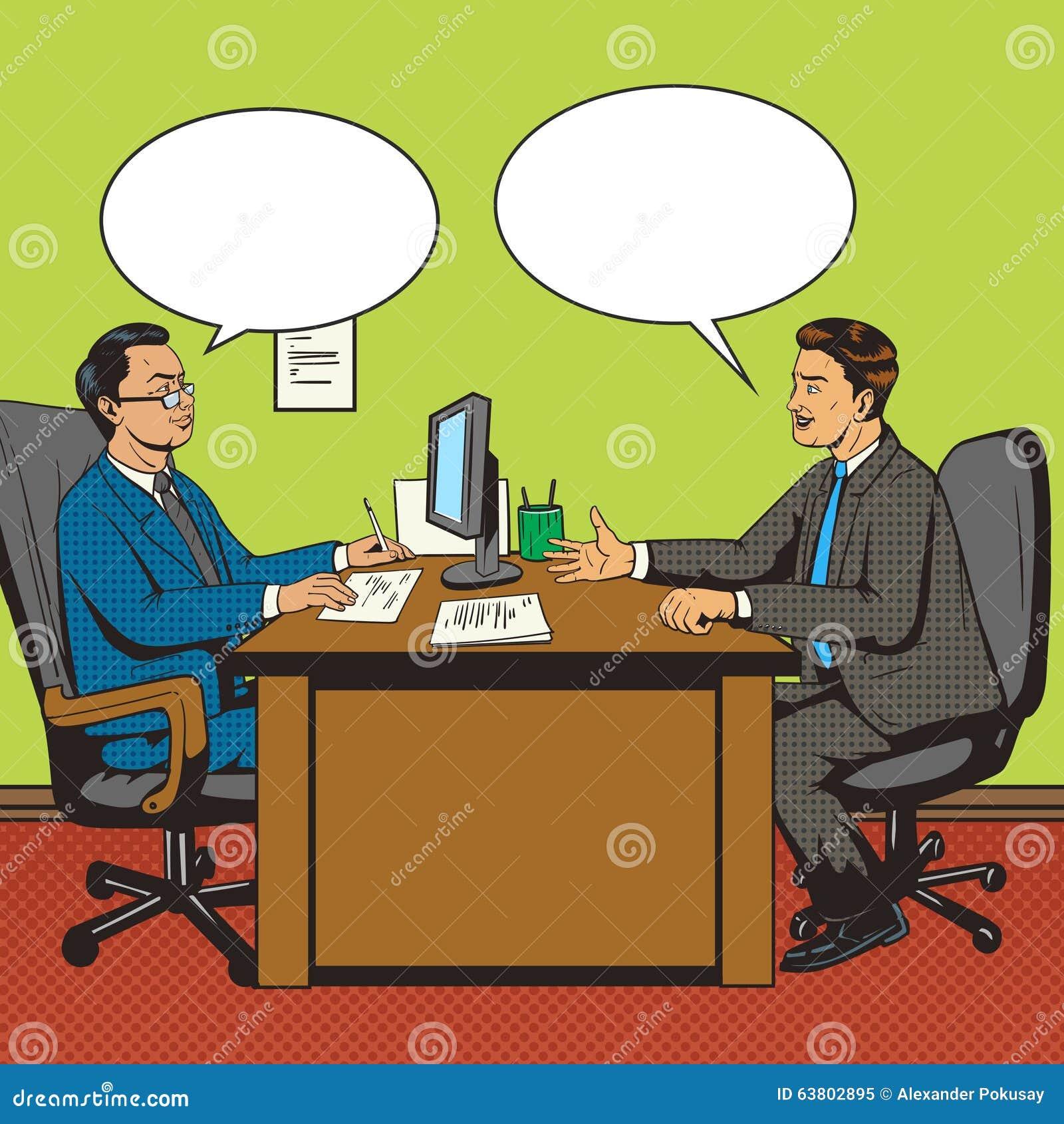 Mężczyzna w biurowym rozmowa wystrzału sztuki retro stylowym wektorze