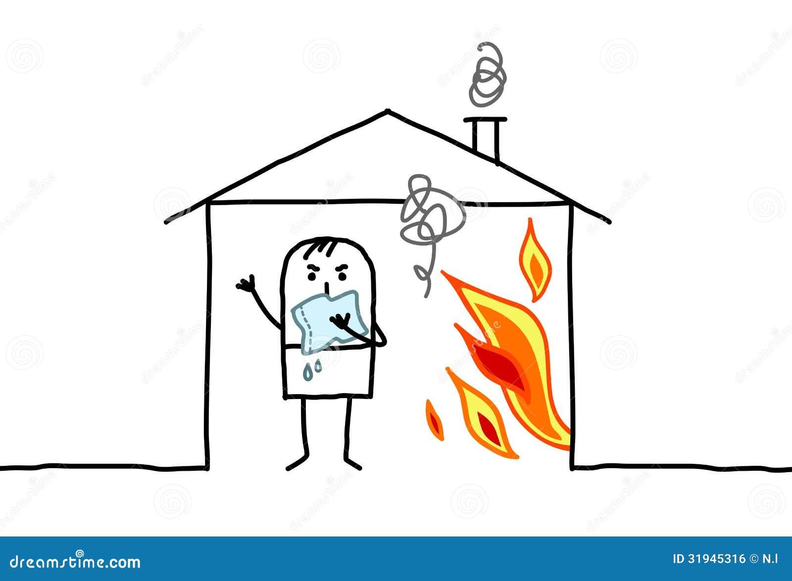 Mężczyzna w domu & ogieniu
