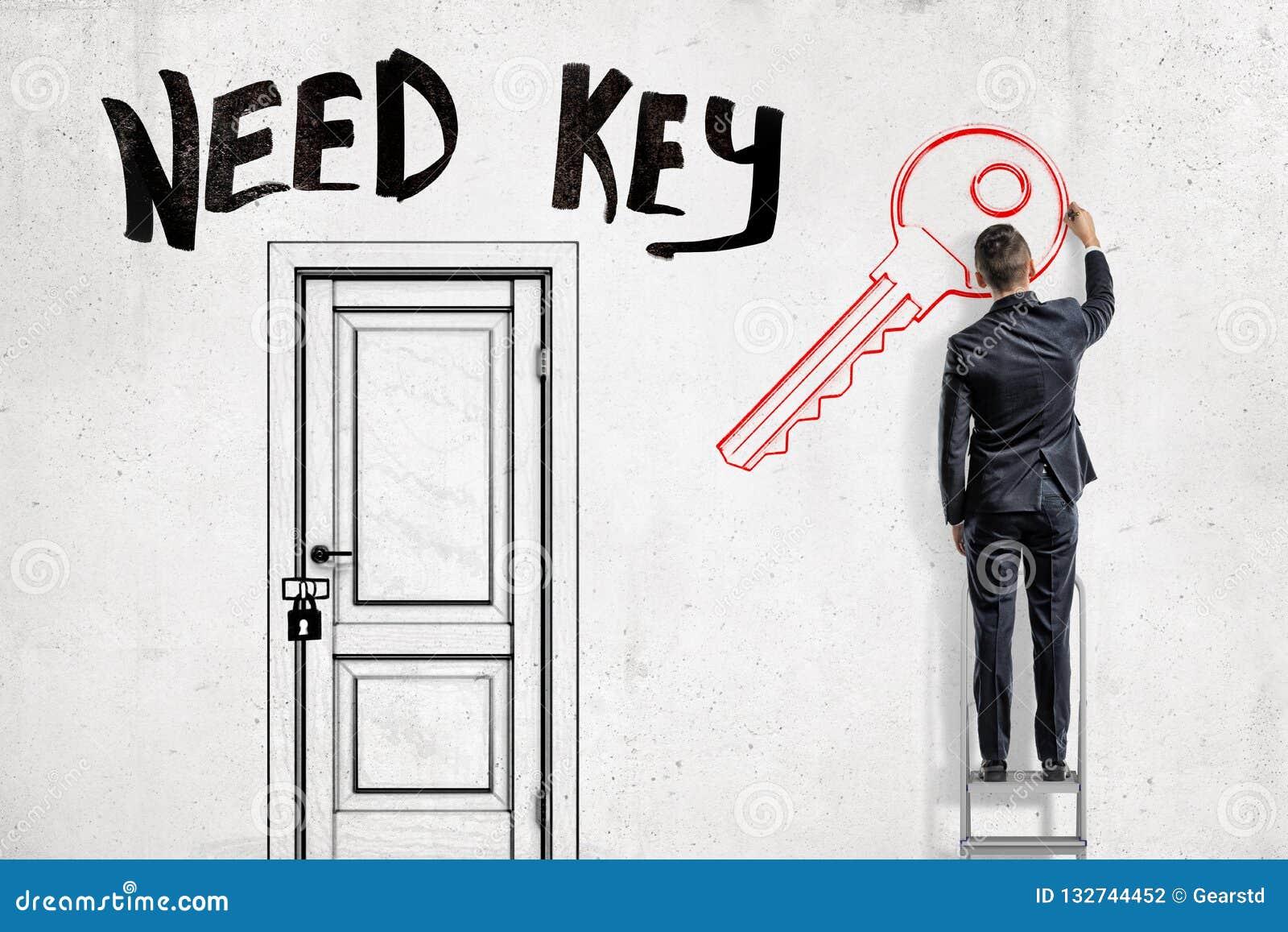 Mężczyzna w kostium pozycji na drabinie na prawo od zamkniętego drzwi z tytułowym «potrzeba kluczem «nad i rysujący klucz na a