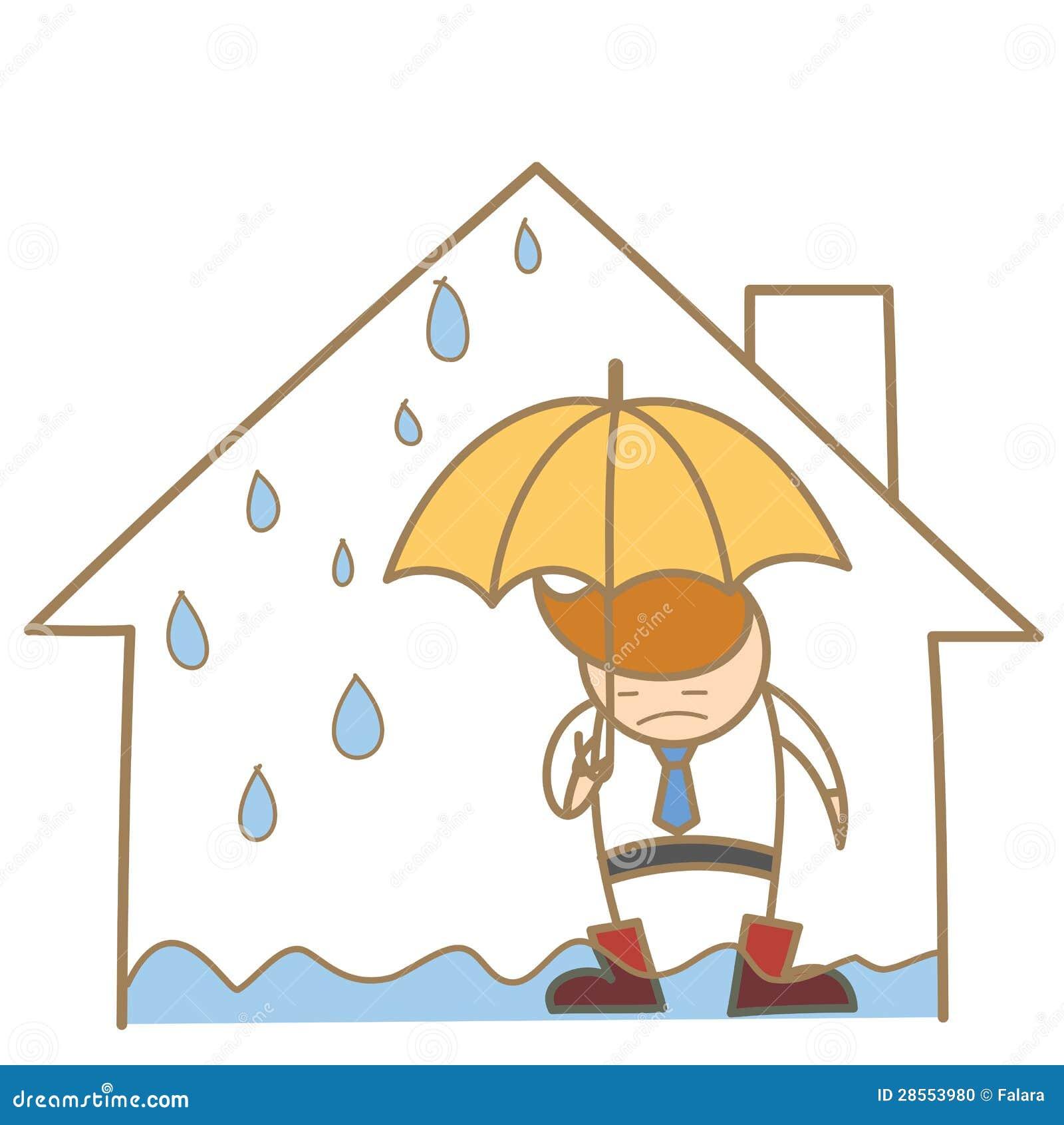 Mężczyzna w przecieku dachu domu