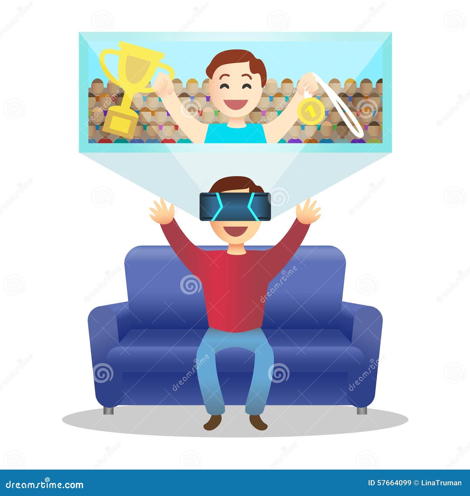 Mężczyzna w przyrządzie dla rzeczywistości wirtualnej wektor