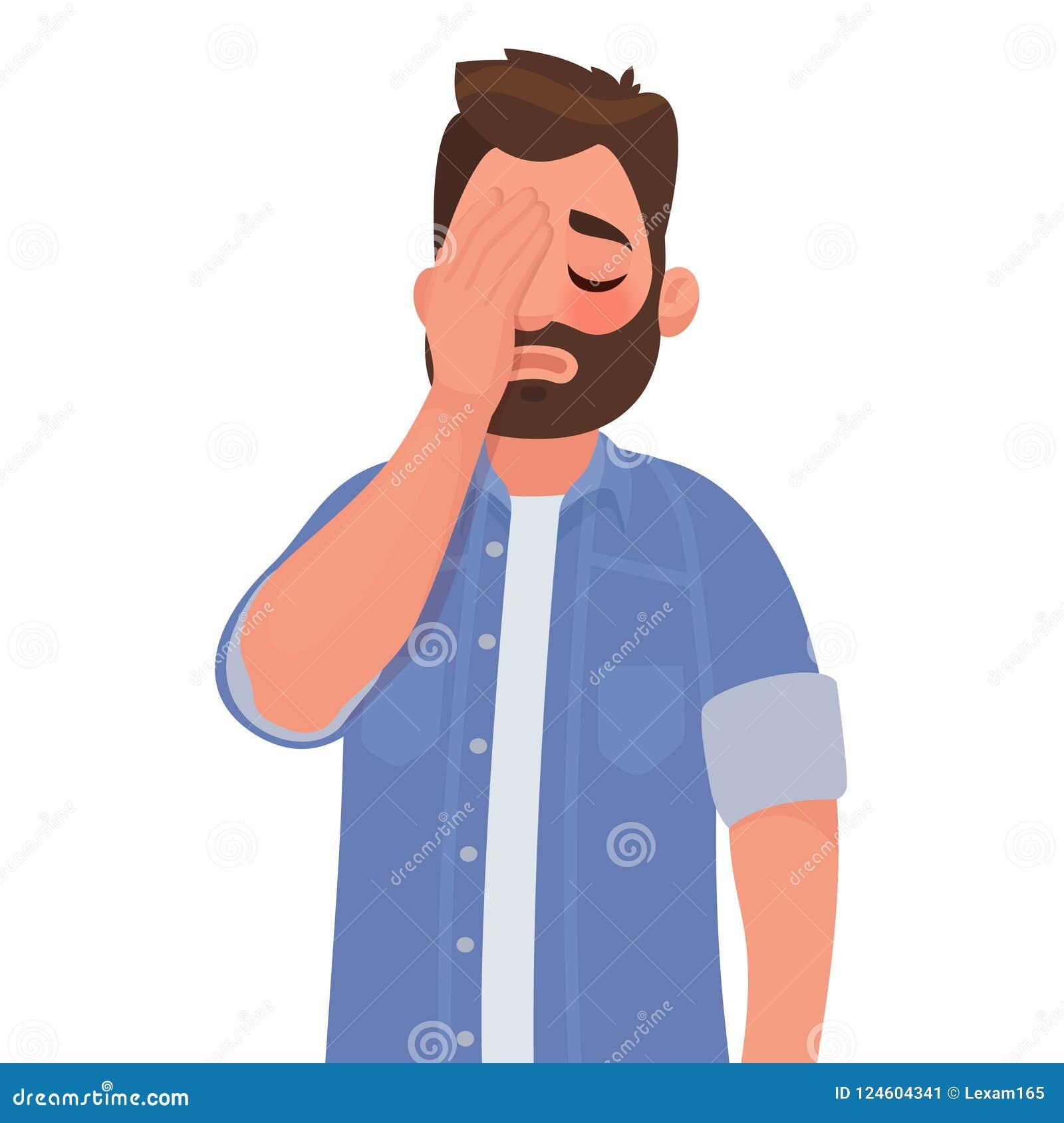 Mężczyzna z gesta facepalm Migrena, rozczarowanie lub wstyd,