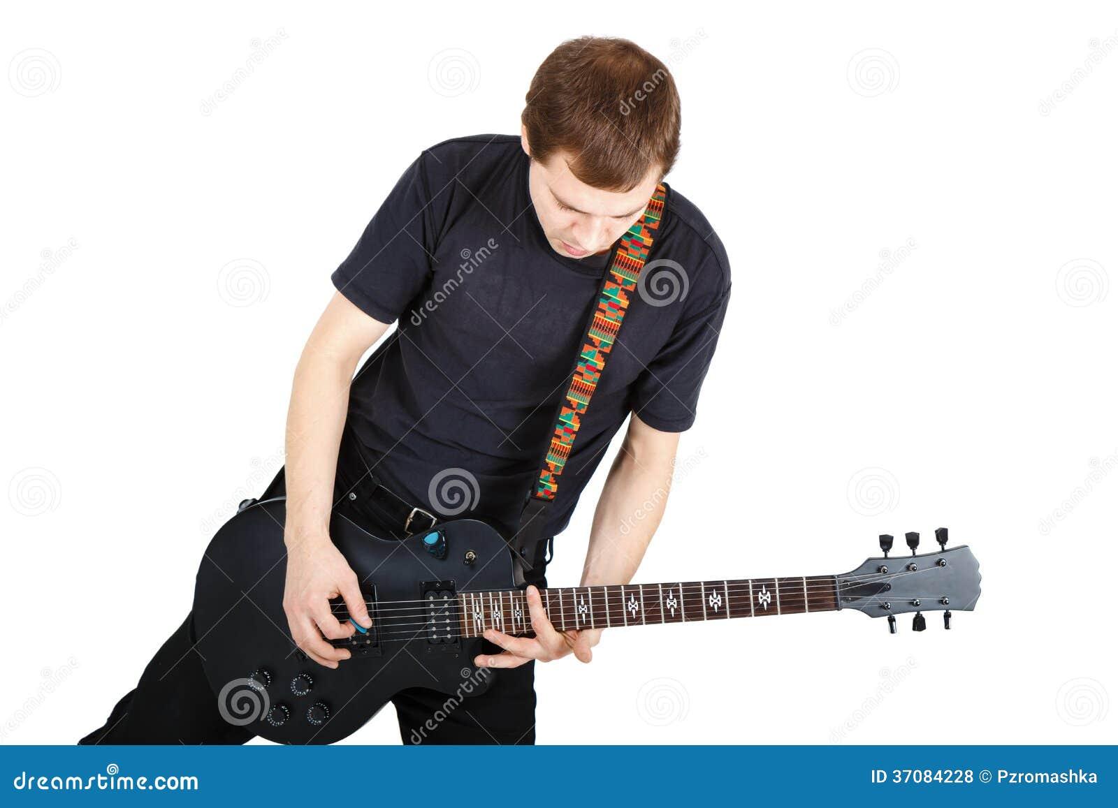 Download Mężczyzna Z Gitarą Elektryczną Zdjęcie Stock - Obraz złożonej z muzyk, gracz: 37084228