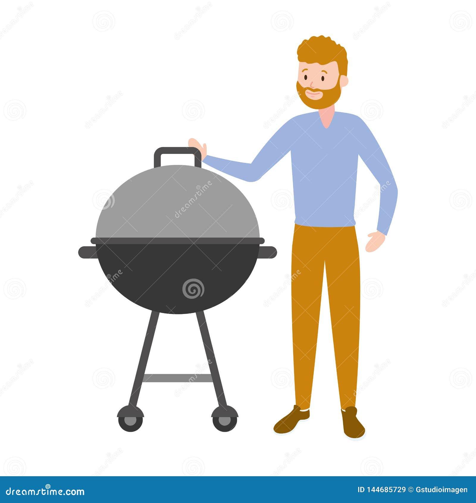 Mężczyzna z grilla grillem