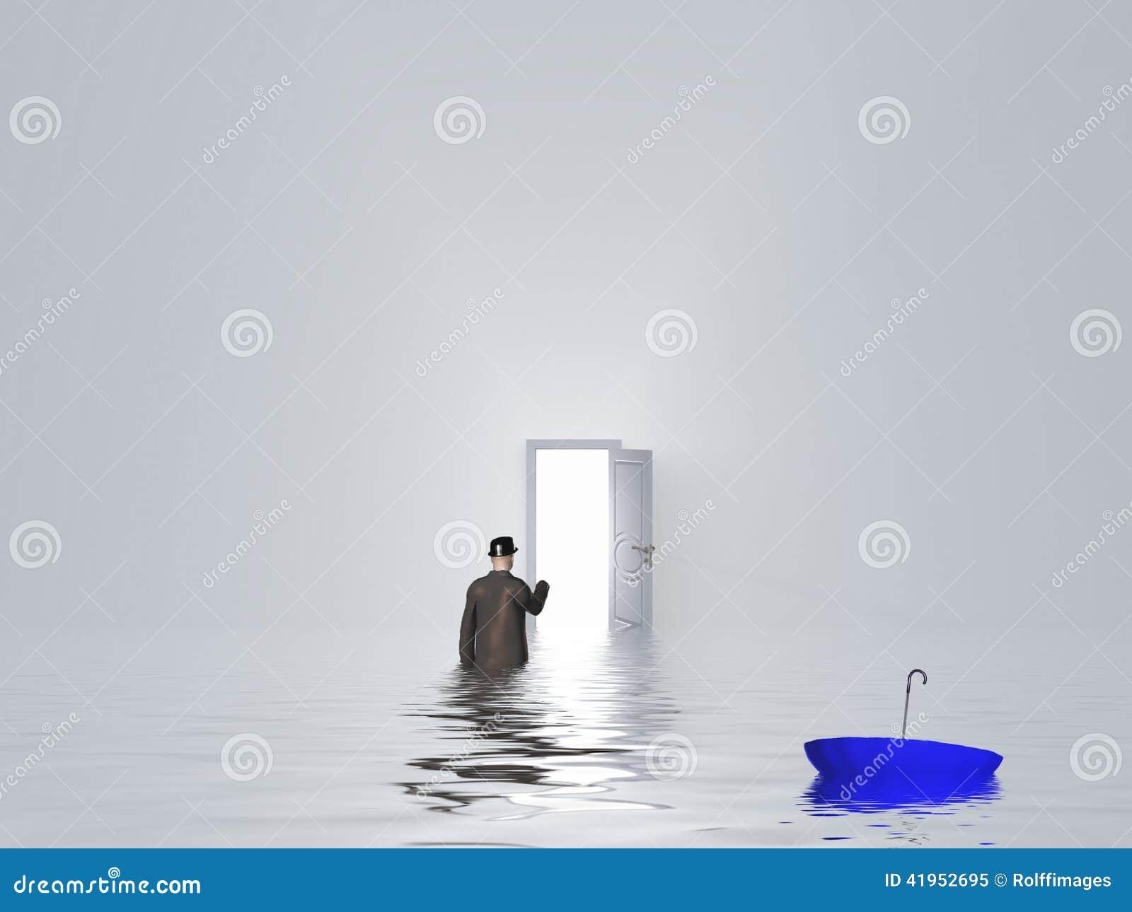 Mężczyzna z parasolem w czystym białym pokoju