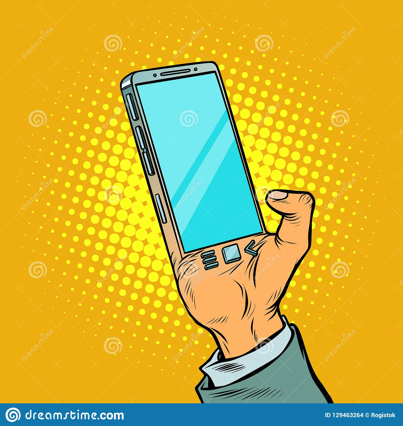 Mężczyzna z ręki smartphone Gadżet wszczepia w ludzki b