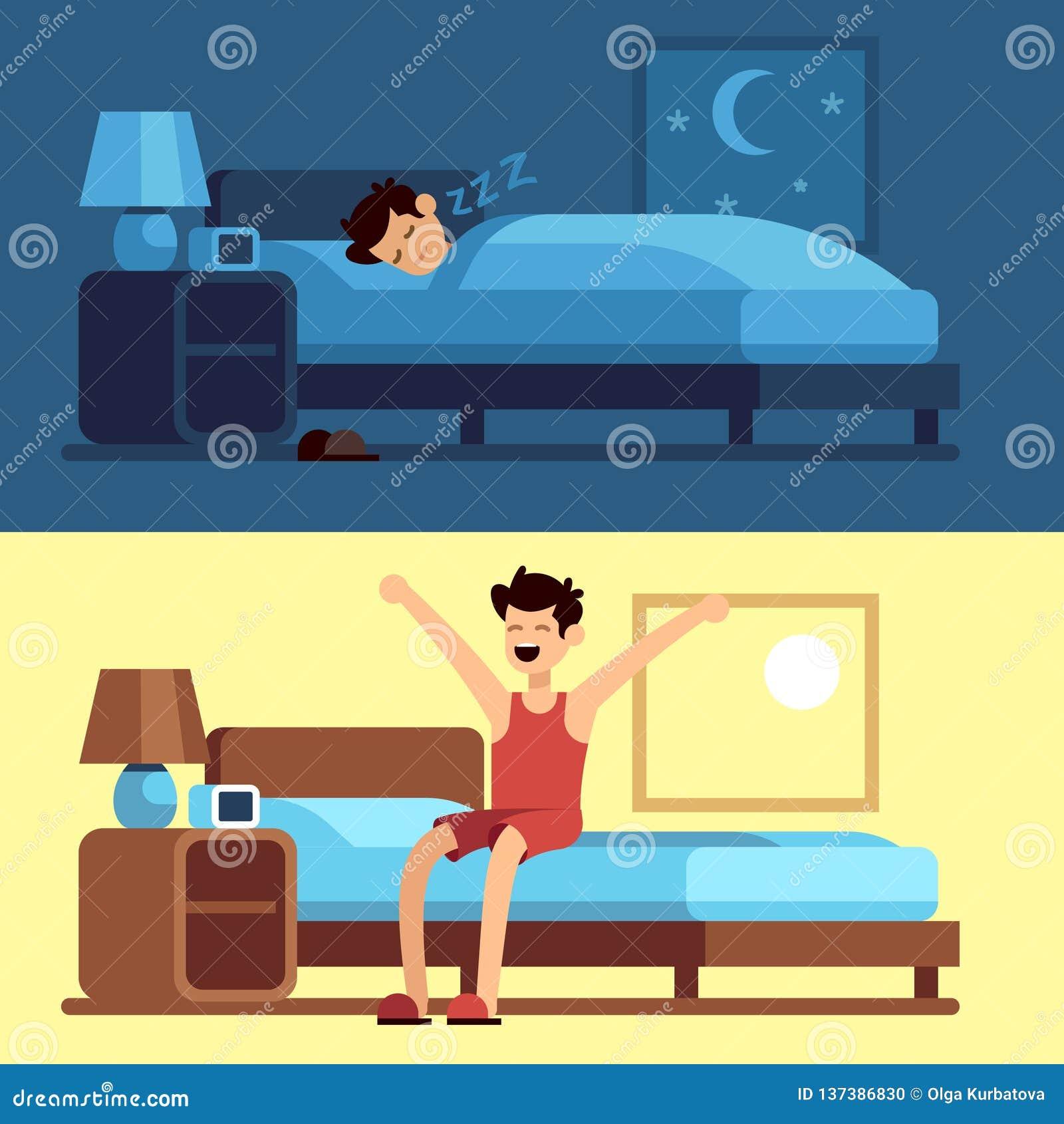 Mężczyzny dosypiania budzić się Osoba pod duvet przy nocą i dostawać z łóżkowego ranku Pokojowo sen w comfy materac