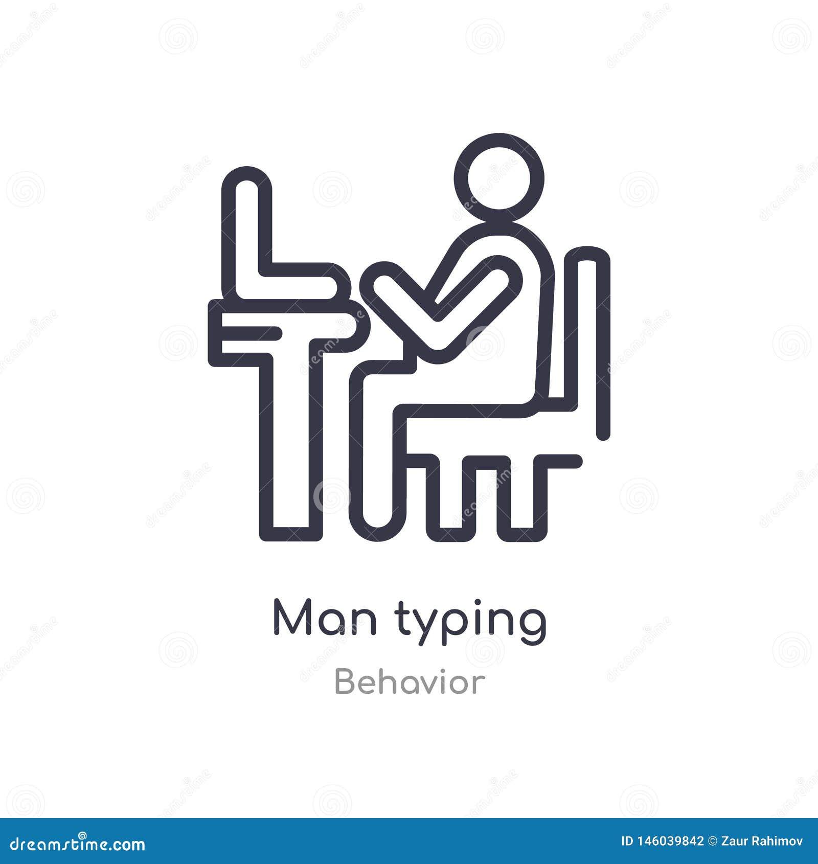 Mężczyzny konturu pisać na maszynie ikona odosobniona kreskowa wektorowa ilustracja od zachowanie kolekcji editable cienkiego ude