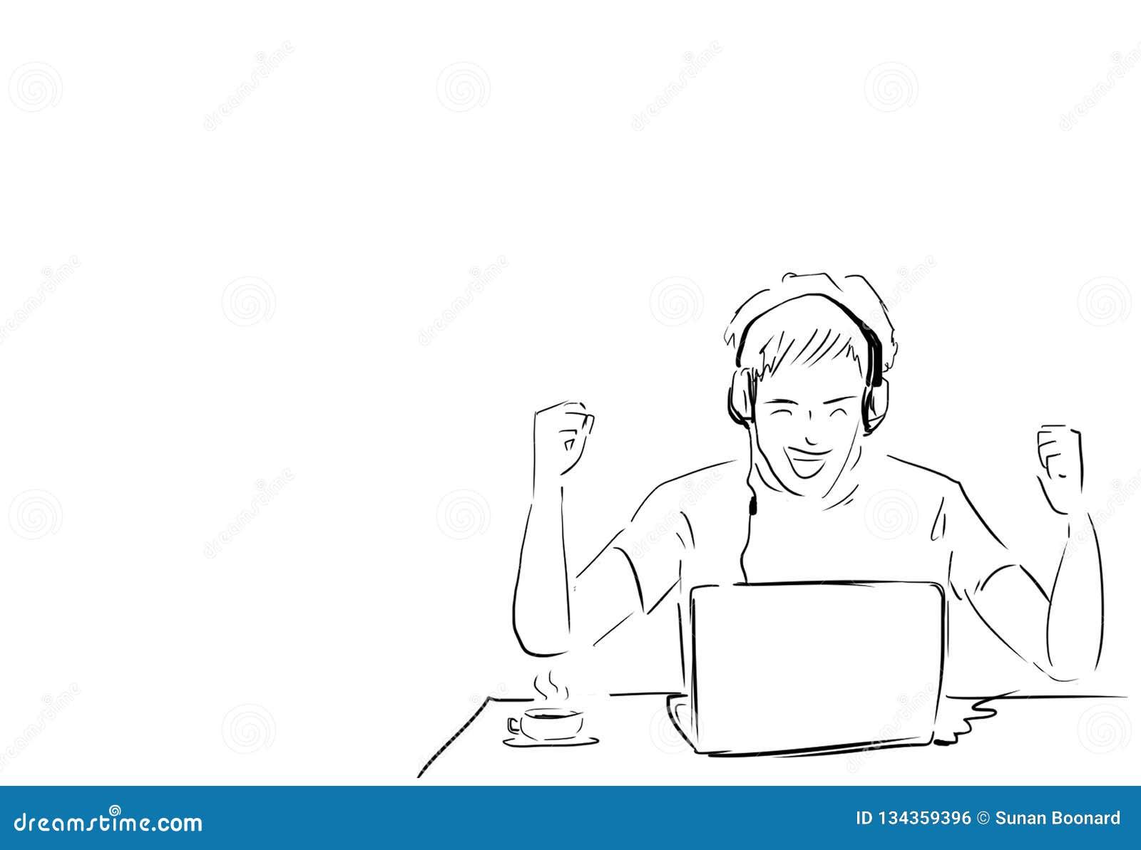 Mężczyzny pracować pomyślny z laptopem na biurku