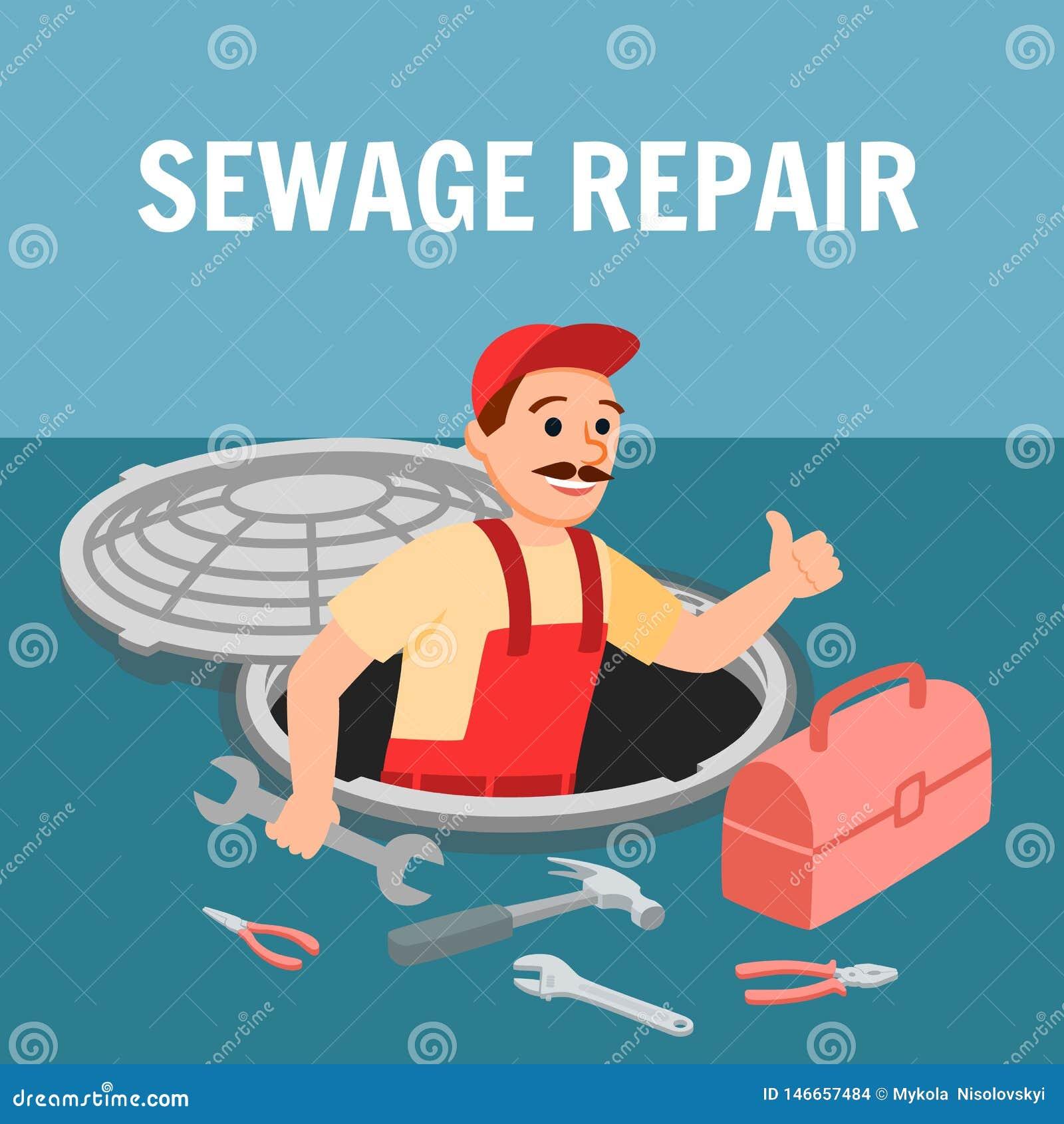 Mężczyzny Repairman z instalacji wodnokanalizacyjnej wyposażeniem w Manhole