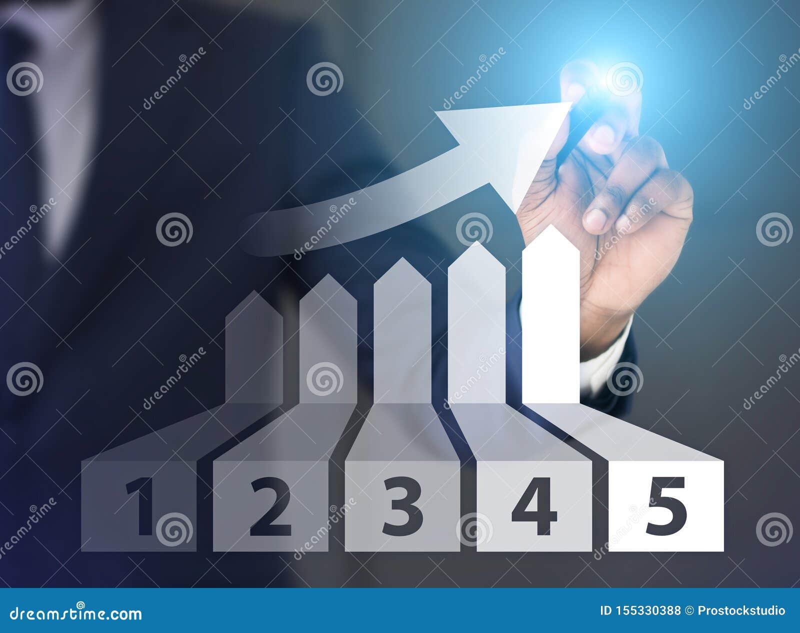 Mężczyzny rysunkowy wykres przyrost z pięć miejscami na ekranie
