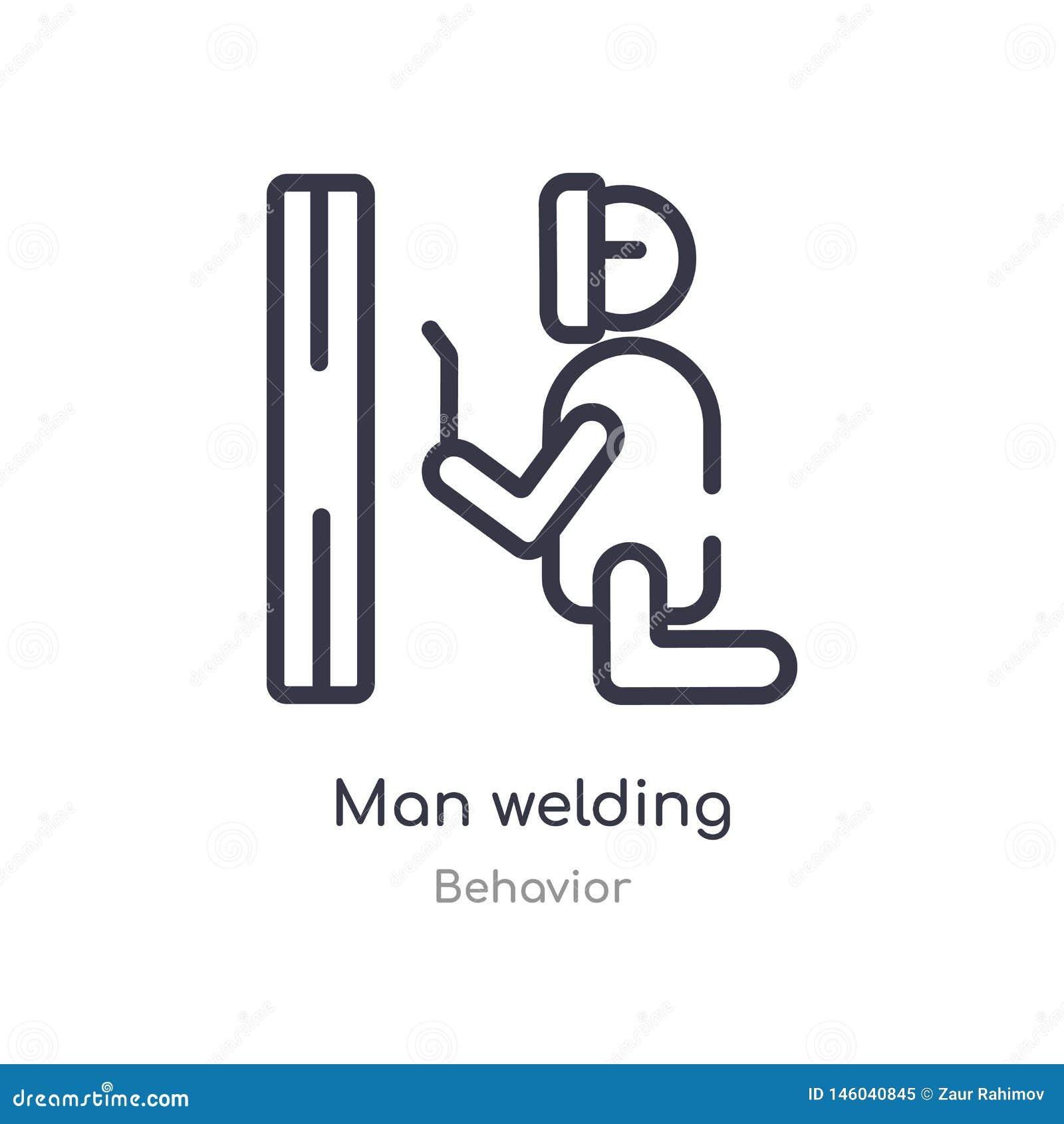 Mężczyzny spawu konturu ikona odosobniona kreskowa wektorowa ilustracja od zachowanie kolekcji editable cienkiego uderzenie mężcz