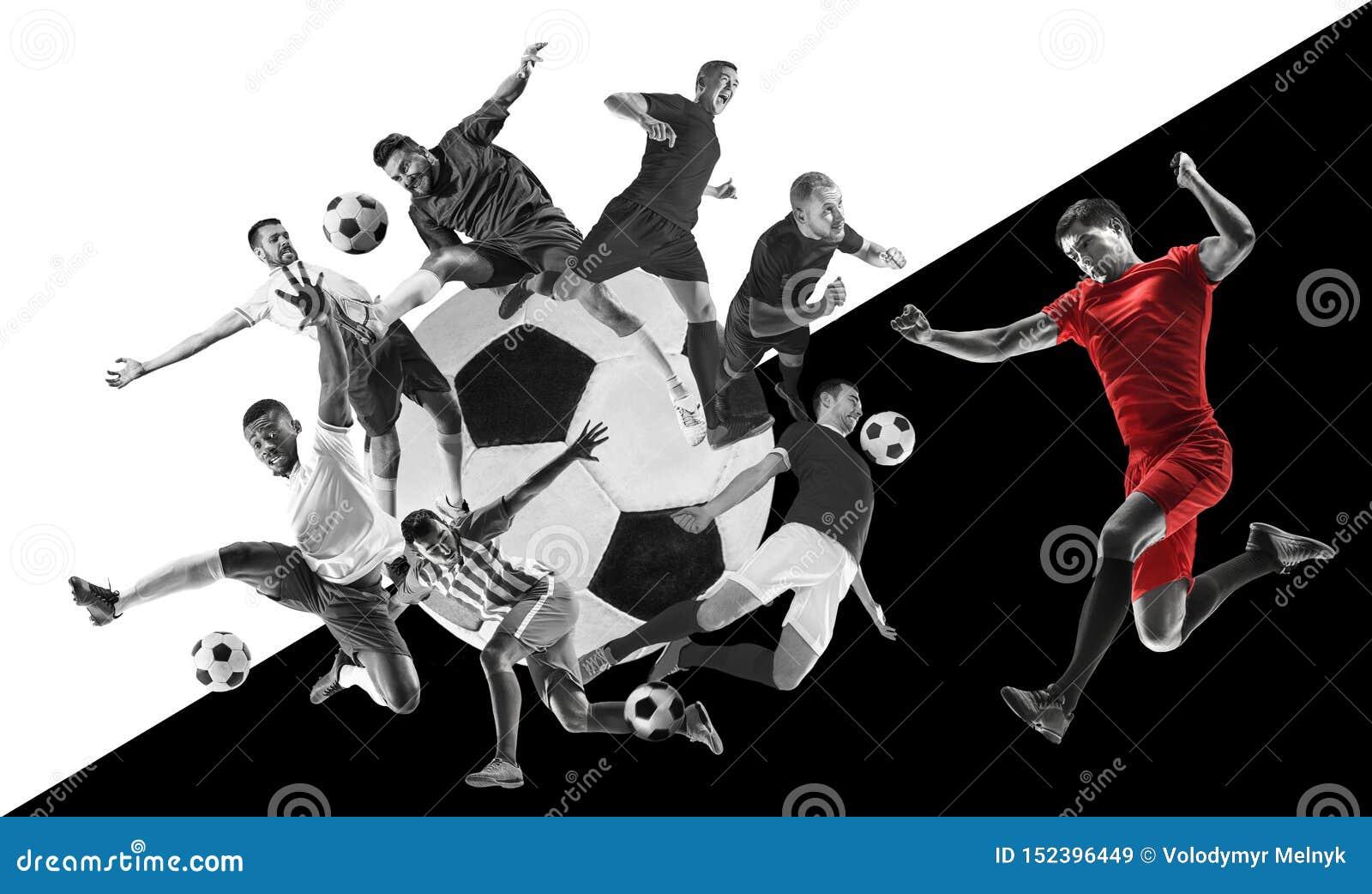 Męscy gracz futbolu w akcji, kreatywnie czarny i biały kolaż