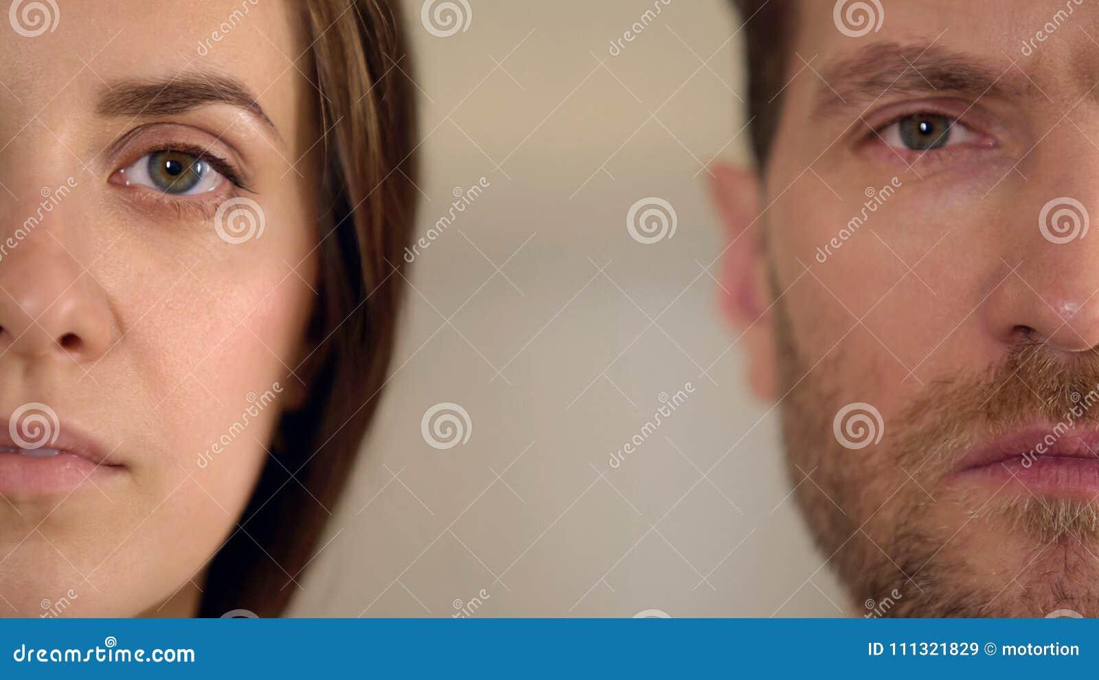 Męska i żeńska przyrodnia twarz patrzeje w kamerę, równouprawnienie płci, badanie opinii publicznej