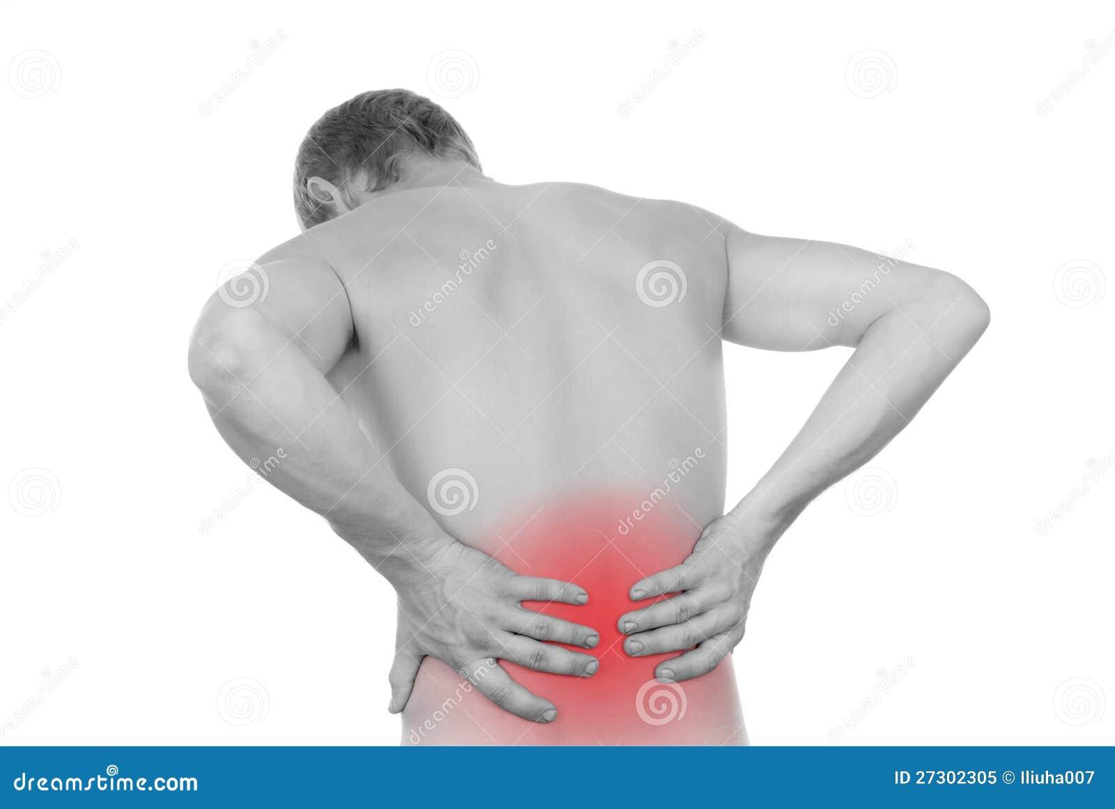 Męska półpostać, ból w loin