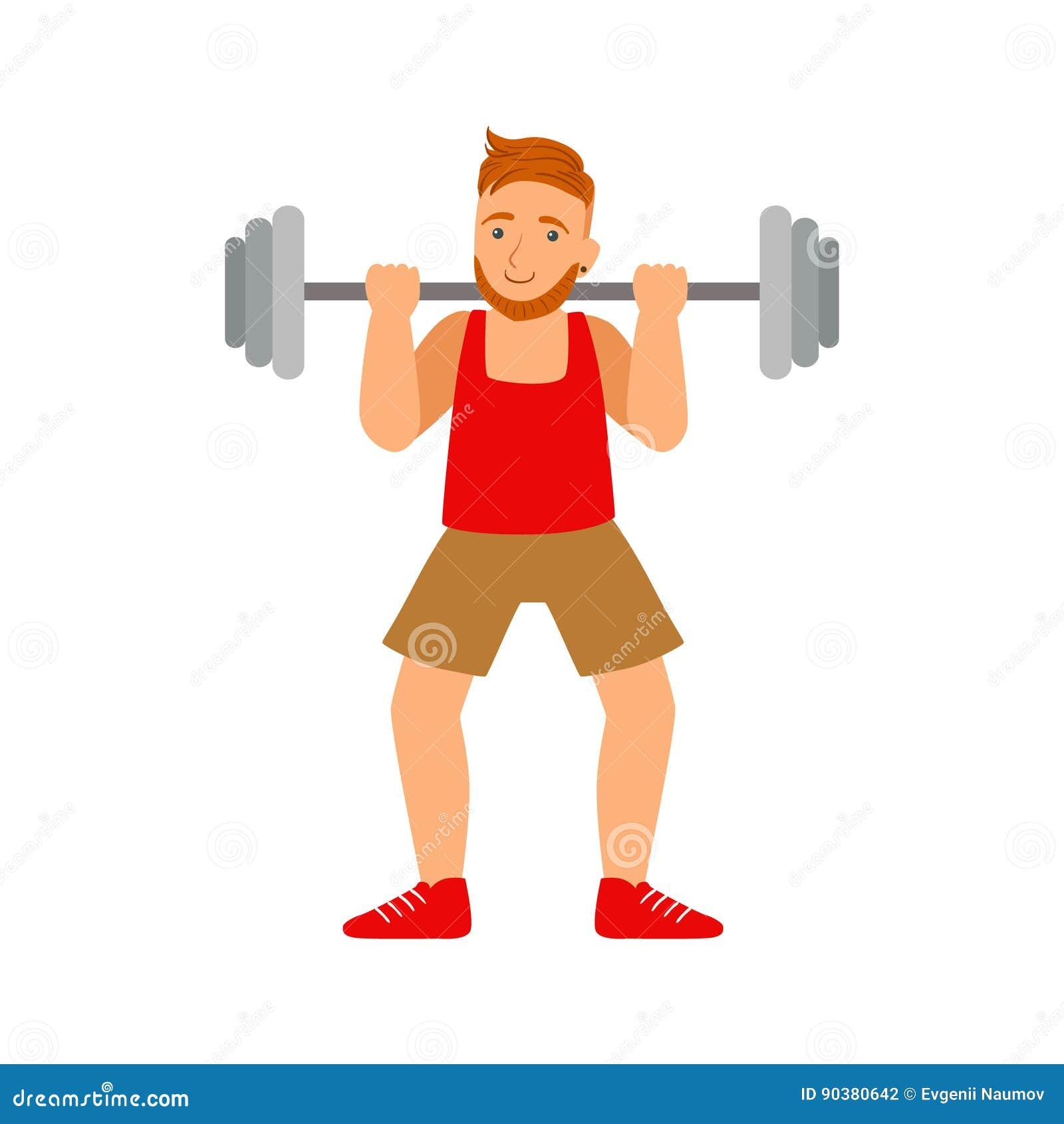 Męski bodybuilder ćwiczy z barbell Kolorowy postać z kreskówki