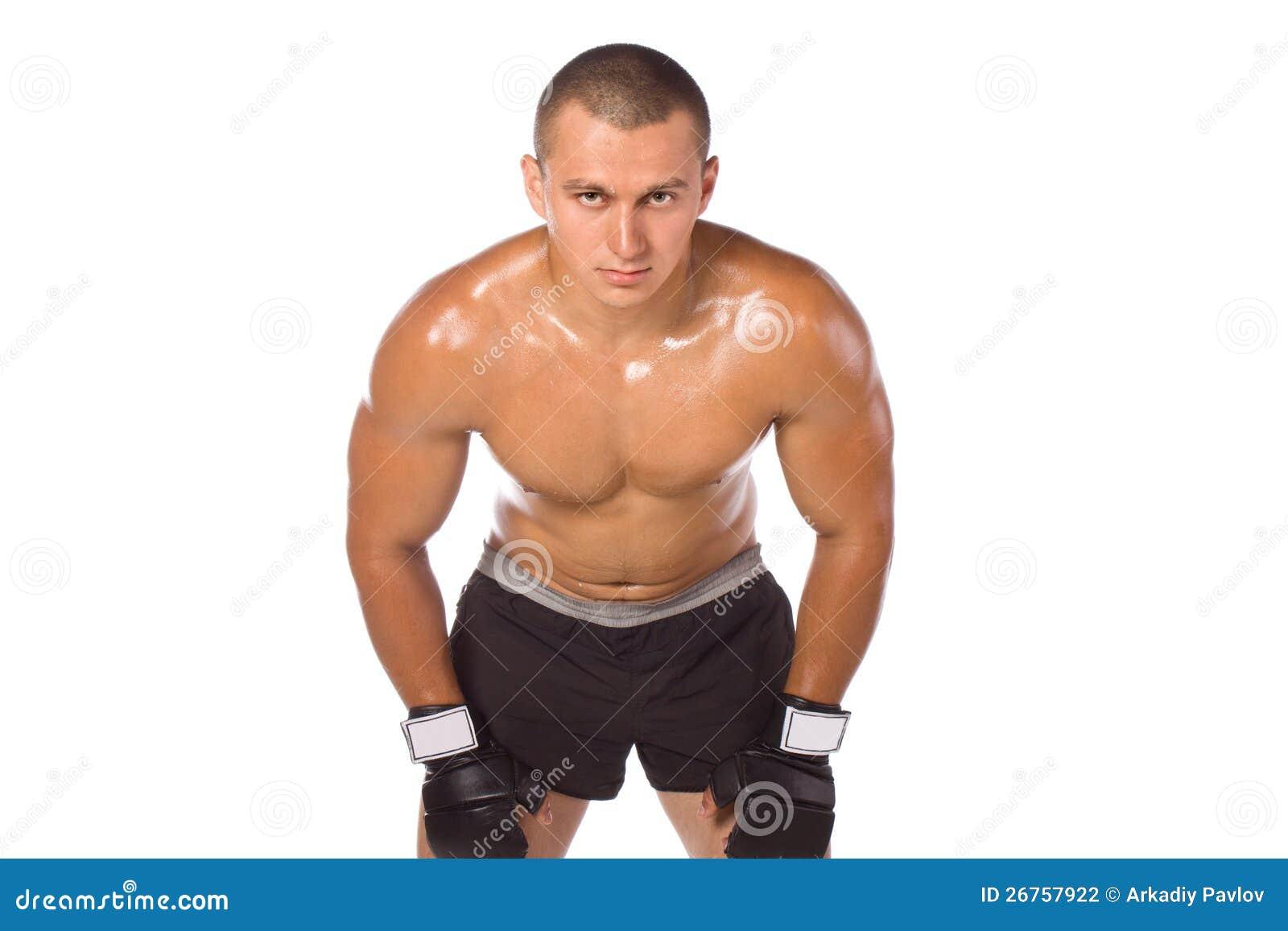 Męski bokser, wojownik. Sporty.