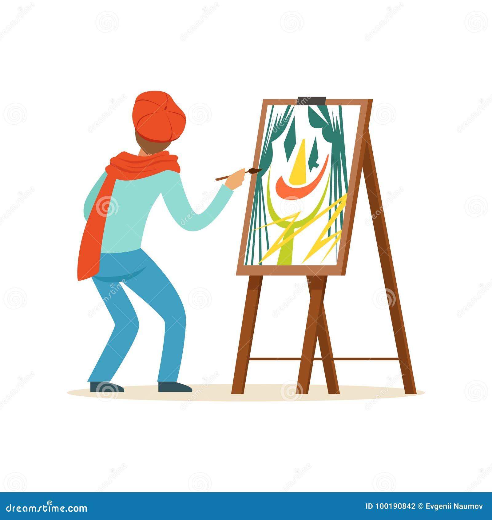 Męski malarza artysty charakter jest ubranym czerwonego bereta obraz z kolorową paletą stoi blisko sztaluga wektoru ilustraci