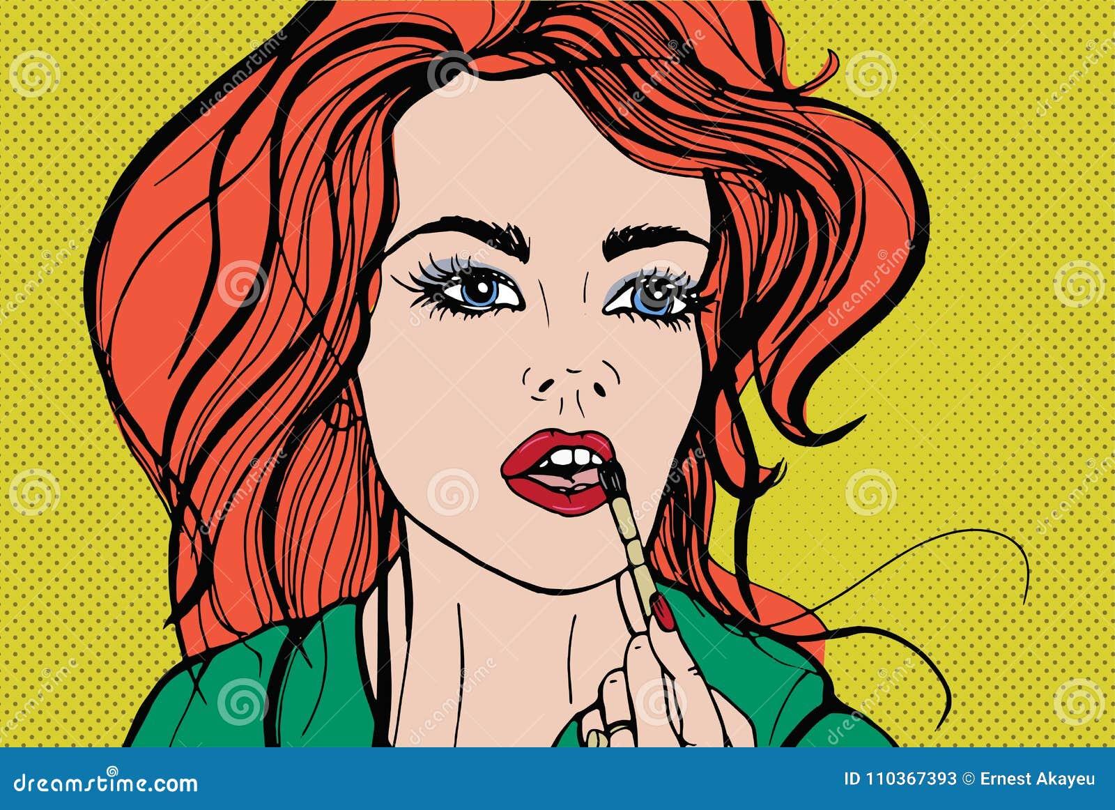 Młoda ładna kobieta stawia dekoracyjnych kosmetyki lub pomadkę na jej wargach z muśnięciem Portret rudzielec dziewczyny stosować