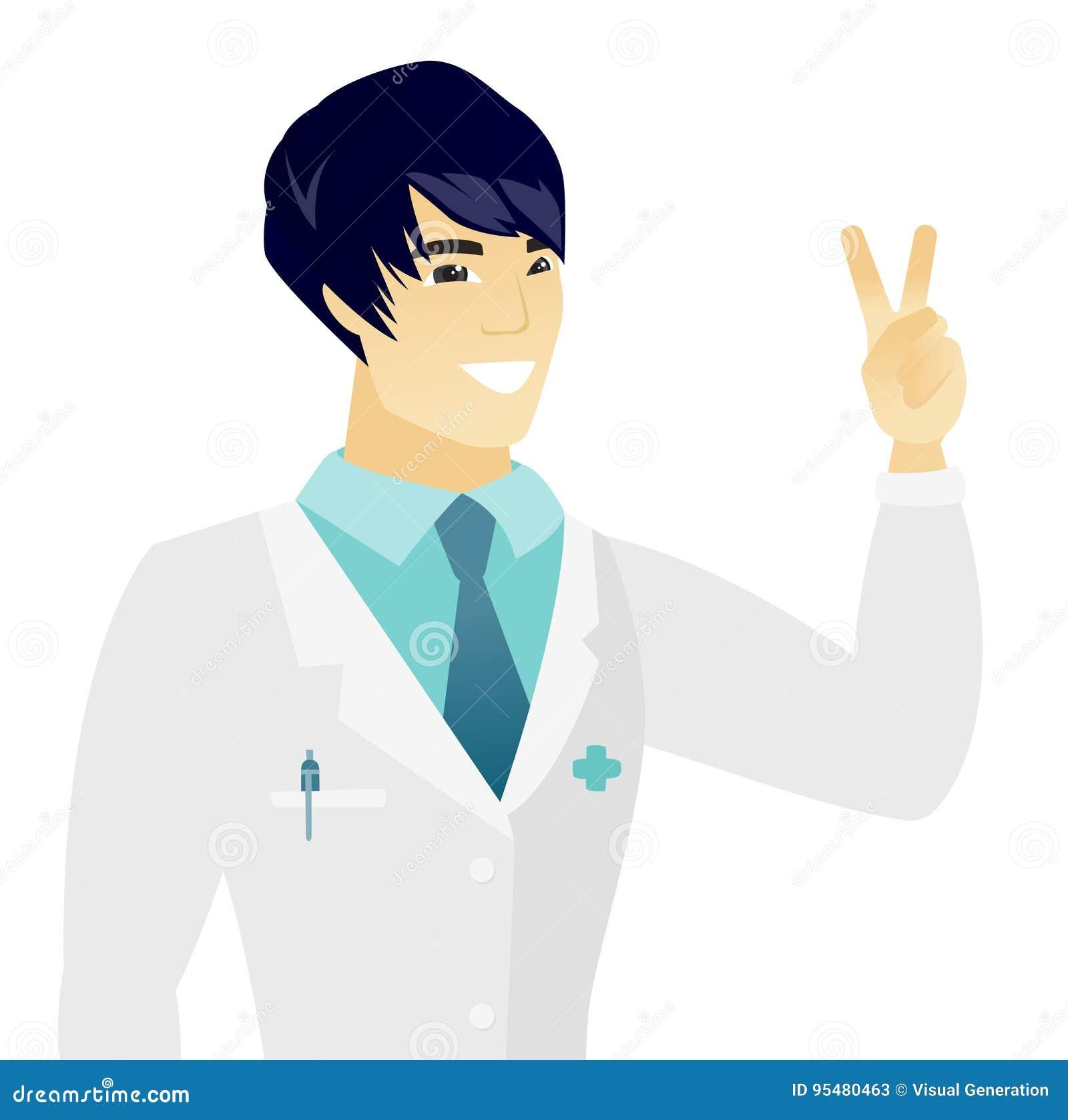 Młoda azjata lekarka pokazuje zwycięstwo gest