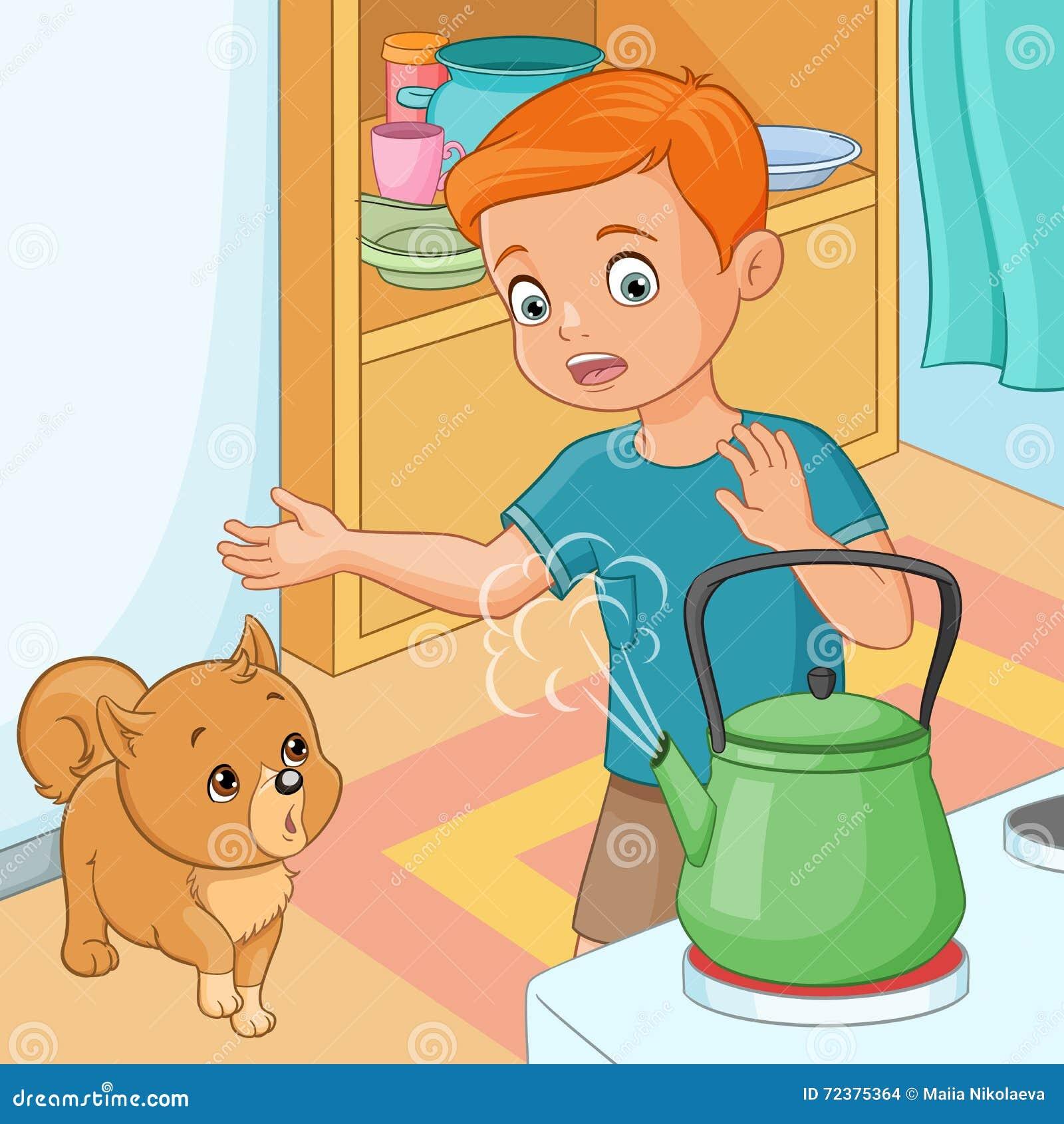 Młoda chłopiec jest przezornie gorący czajnik również zwrócić corel ilustracji wektora