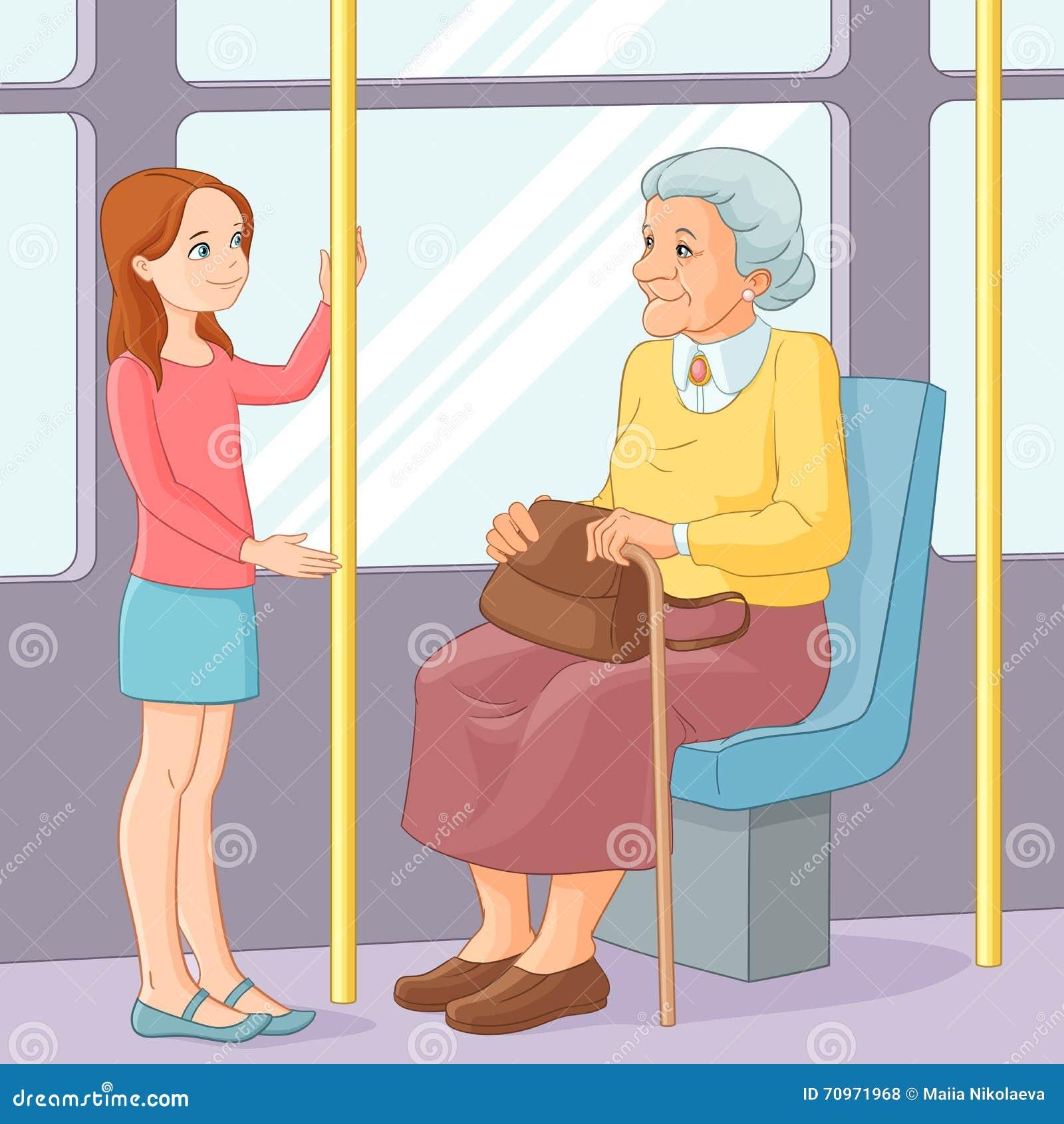 Młoda dziewczyna oferuje siedzenia starej damy transport publicznie również zwrócić corel ilustracji wektora