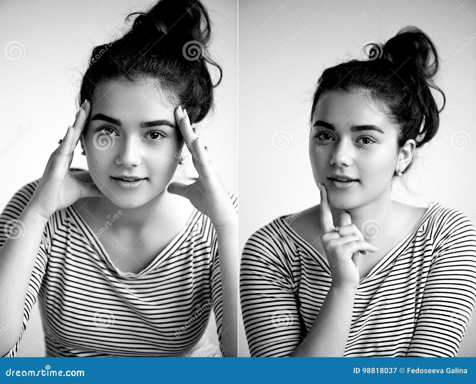 Młoda dziewczyna patrzeje otwartego ufnego spojrzenie Dwa ręki osoba O coś próbuje kolaż brunetka na bielu