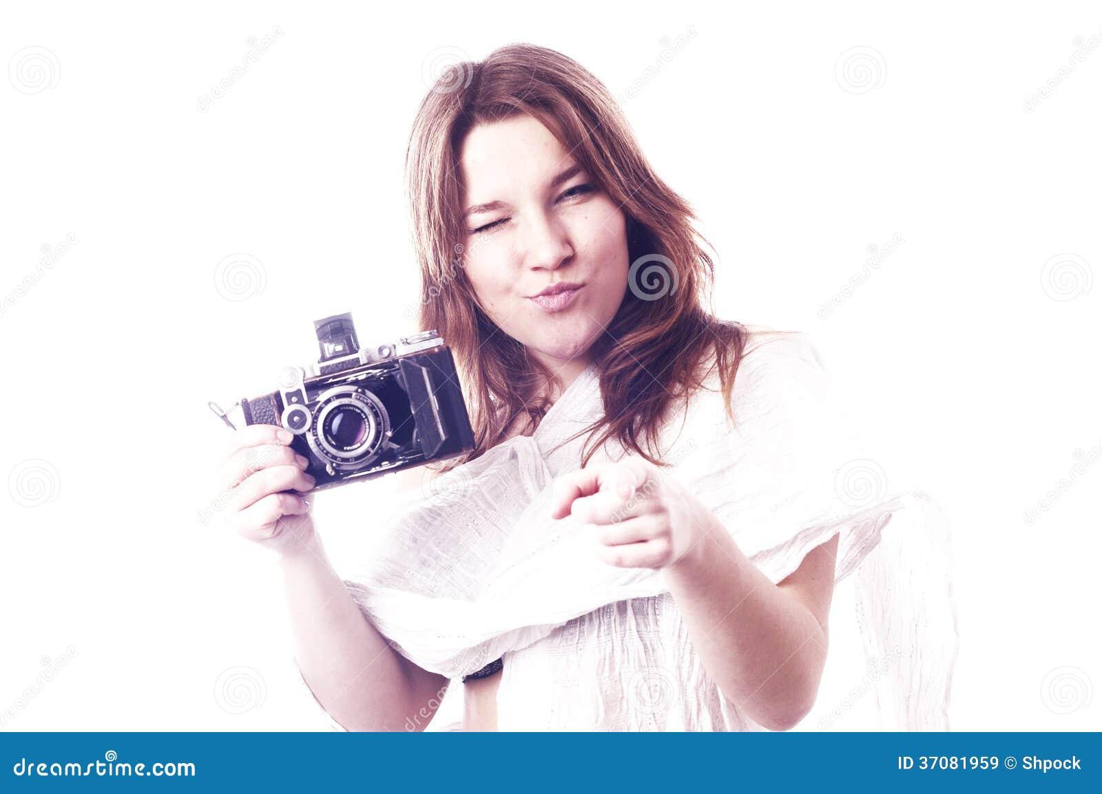 Download Młoda Dziewczyna Z Retro Kamerą Obraz Stock - Obraz złożonej z femininely, model: 37081959