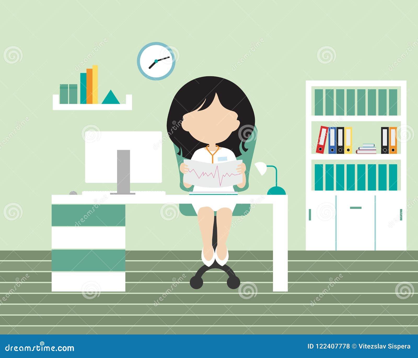 Młoda kobieta doktorski obsiadanie w biurze lub operacja na krześle -