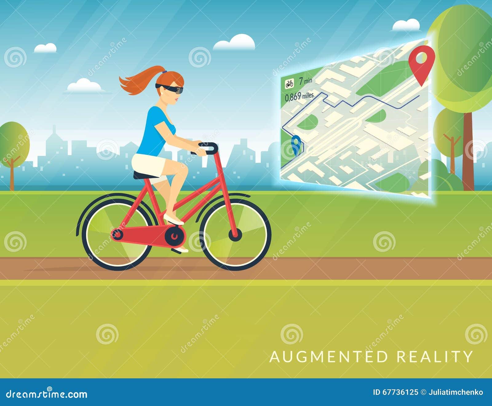 Młoda kobieta jedzie rower i widzii rowerową ścieżkę na wisząca ozdoba zwiększającej rzeczywistości mapie