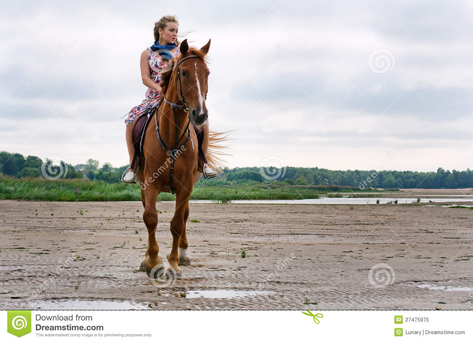 Młoda kobieta na koniu