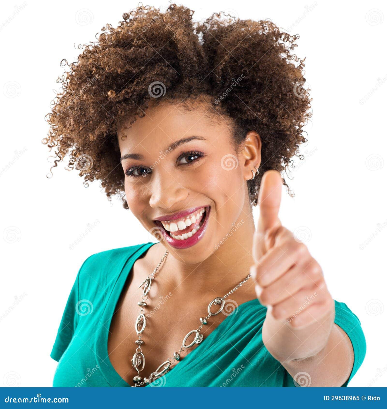 Młoda Kobieta Pokazuje kciuk Up