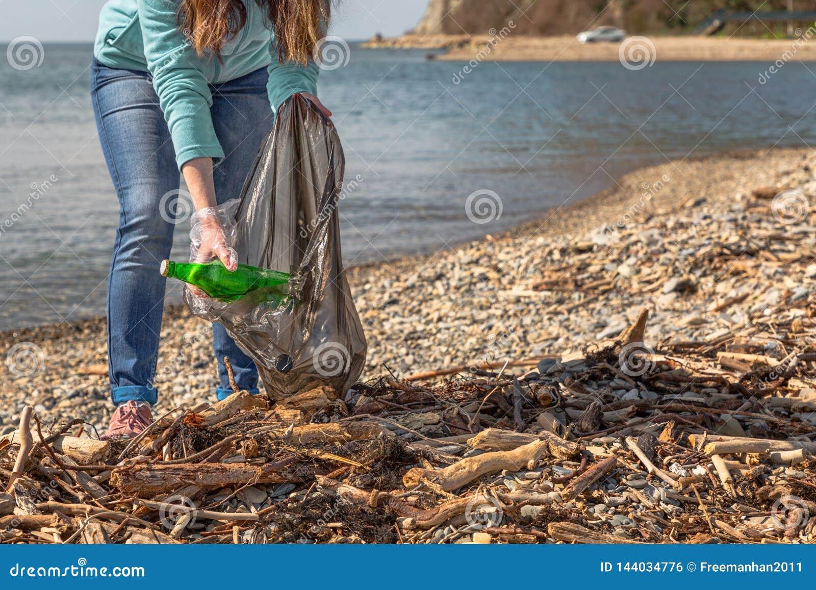 Młoda kobieta stawia zbierającego śmieci w torbie Czyścić terytorium ochrona środowiska Denny i drewniany grat dalej