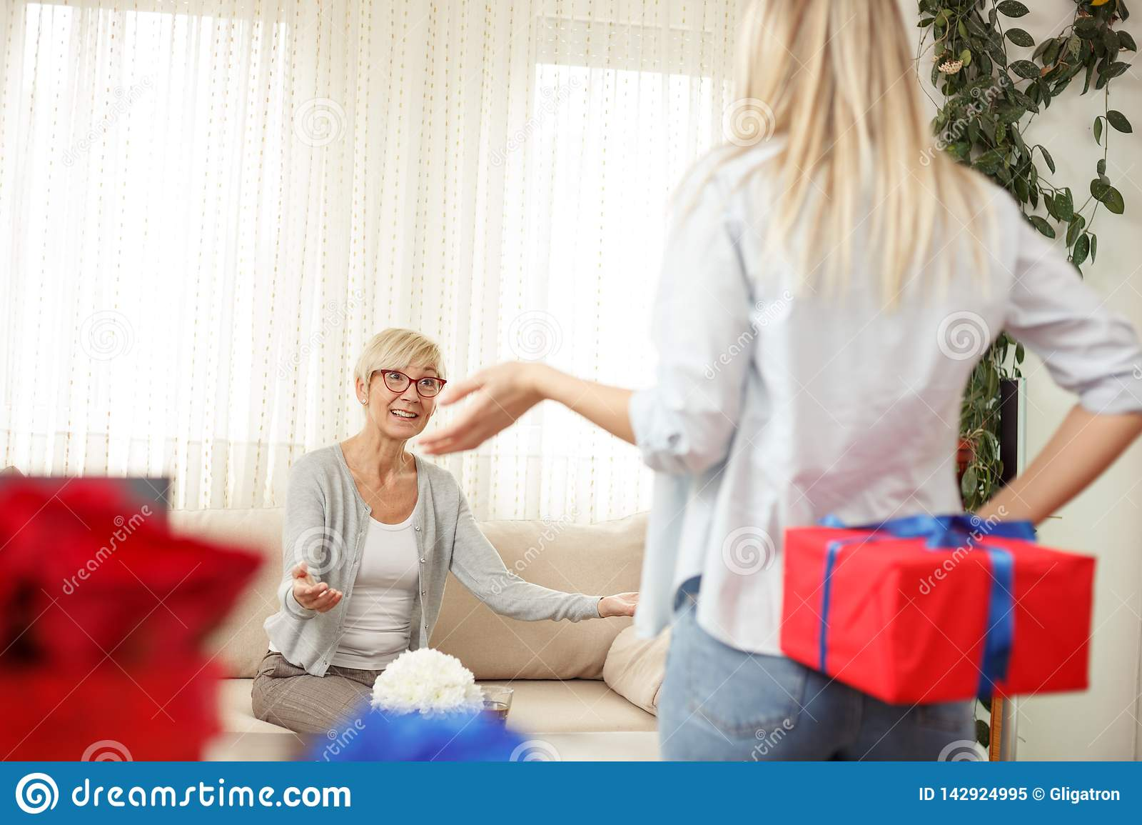 Młoda kobieta trzyma prezenta pudełko za plecy dla jej matki salon wygodnie