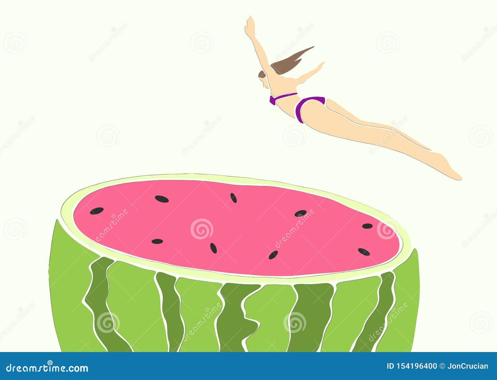 Młoda kobieta w bikini doskakiwaniu w arbuza