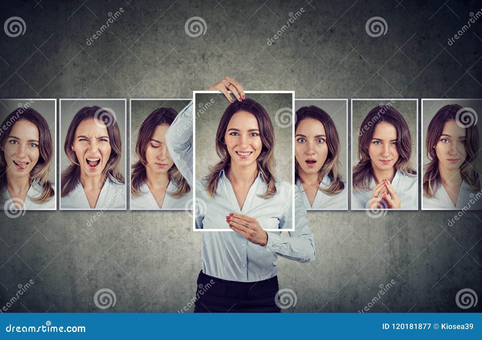 Młoda kobieta wyraża różne emocje