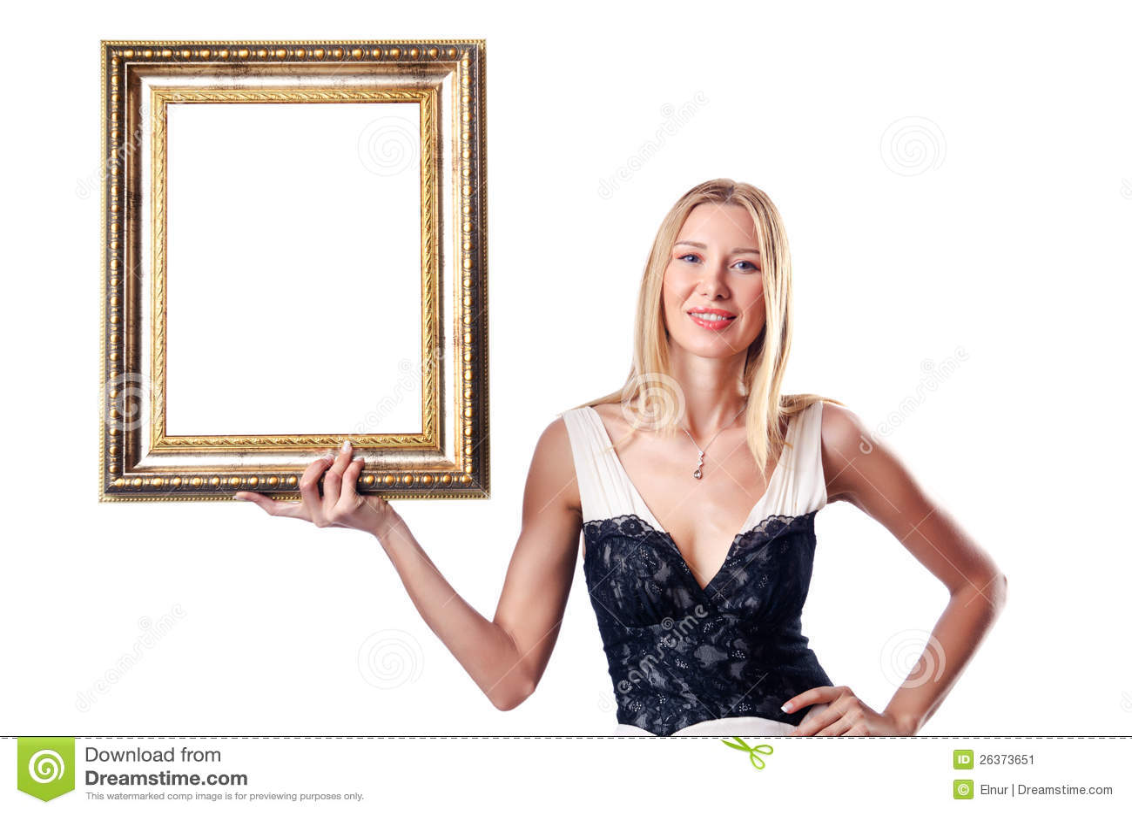 Młoda kobieta z obrazek ramą