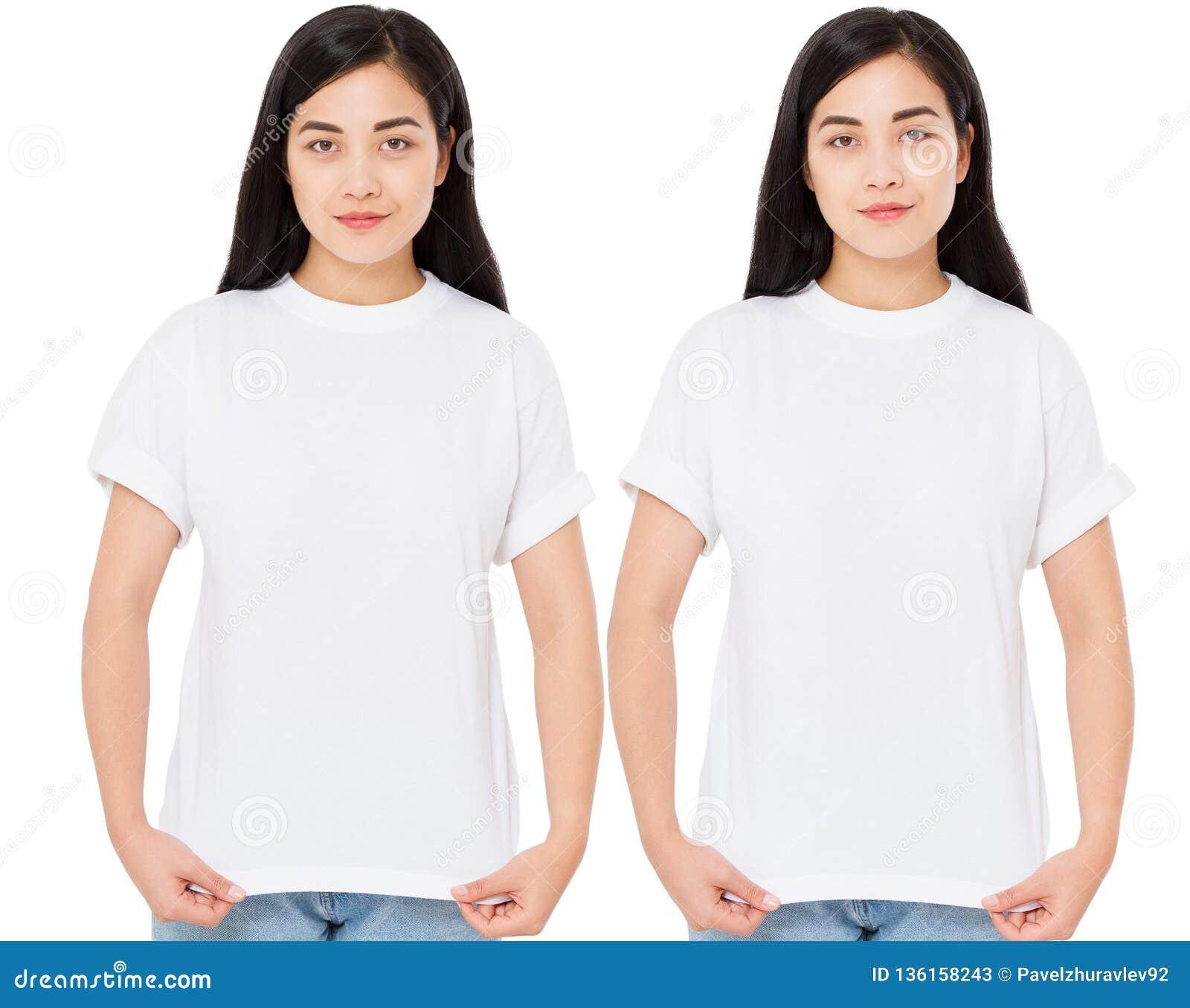 Młoda koreańska kobieta w eleganckiej koszulce na białym tle Mockup dla projekta azjaty dziewczyny