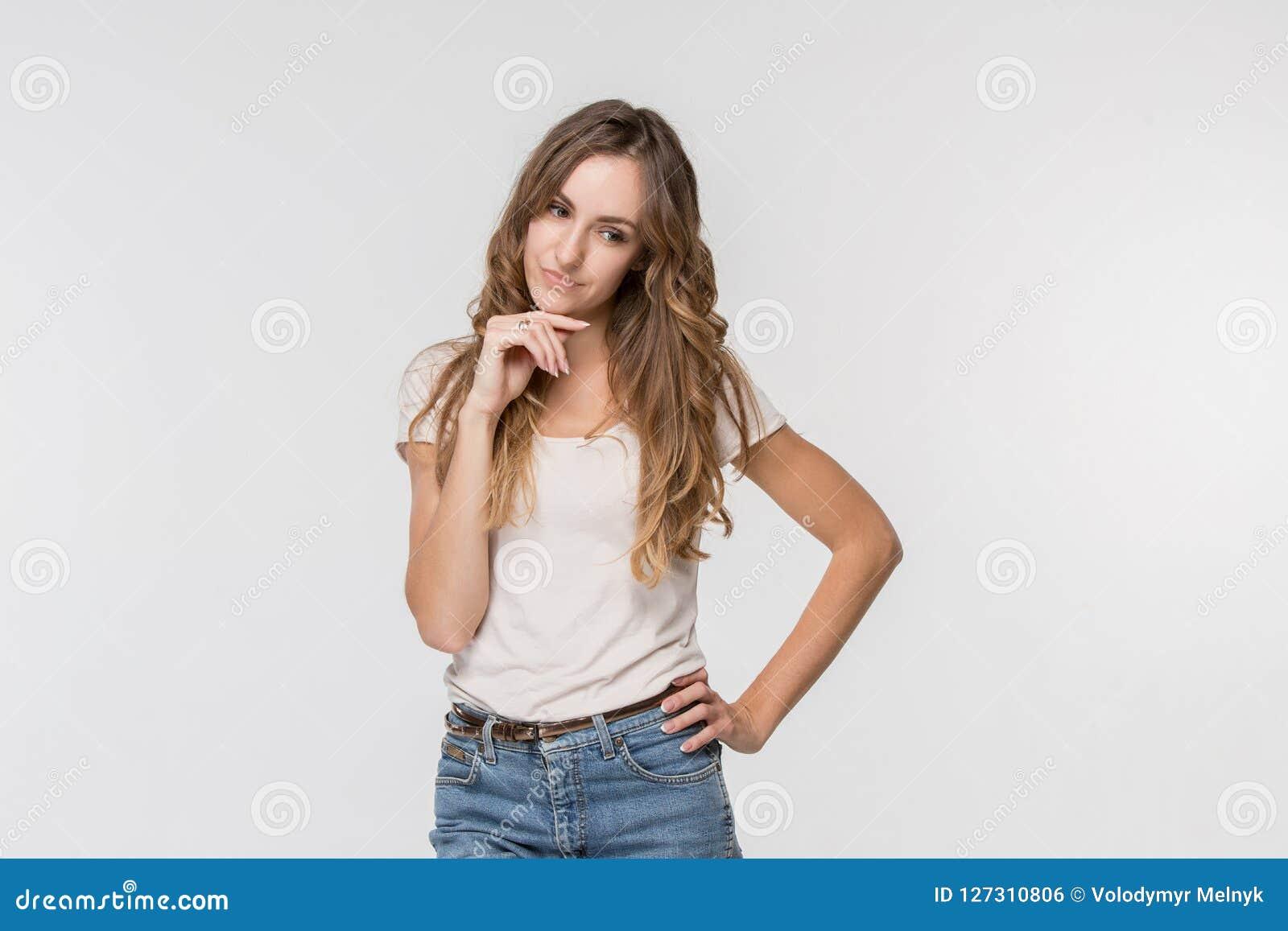 Młoda poważna rozważna biznesowa kobieta Wątpliwości pojęcie
