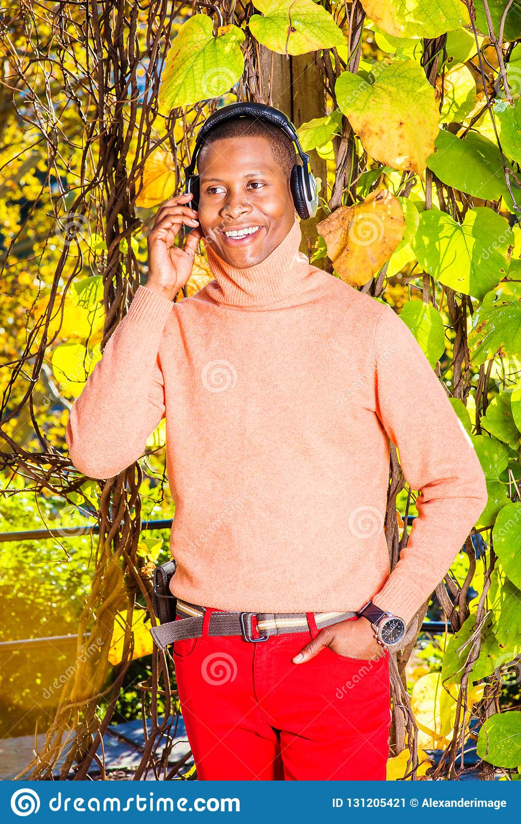 Młodego amerykanin afrykańskiego pochodzenia mężczyzny słuchająca muzyka w central park, Nowy