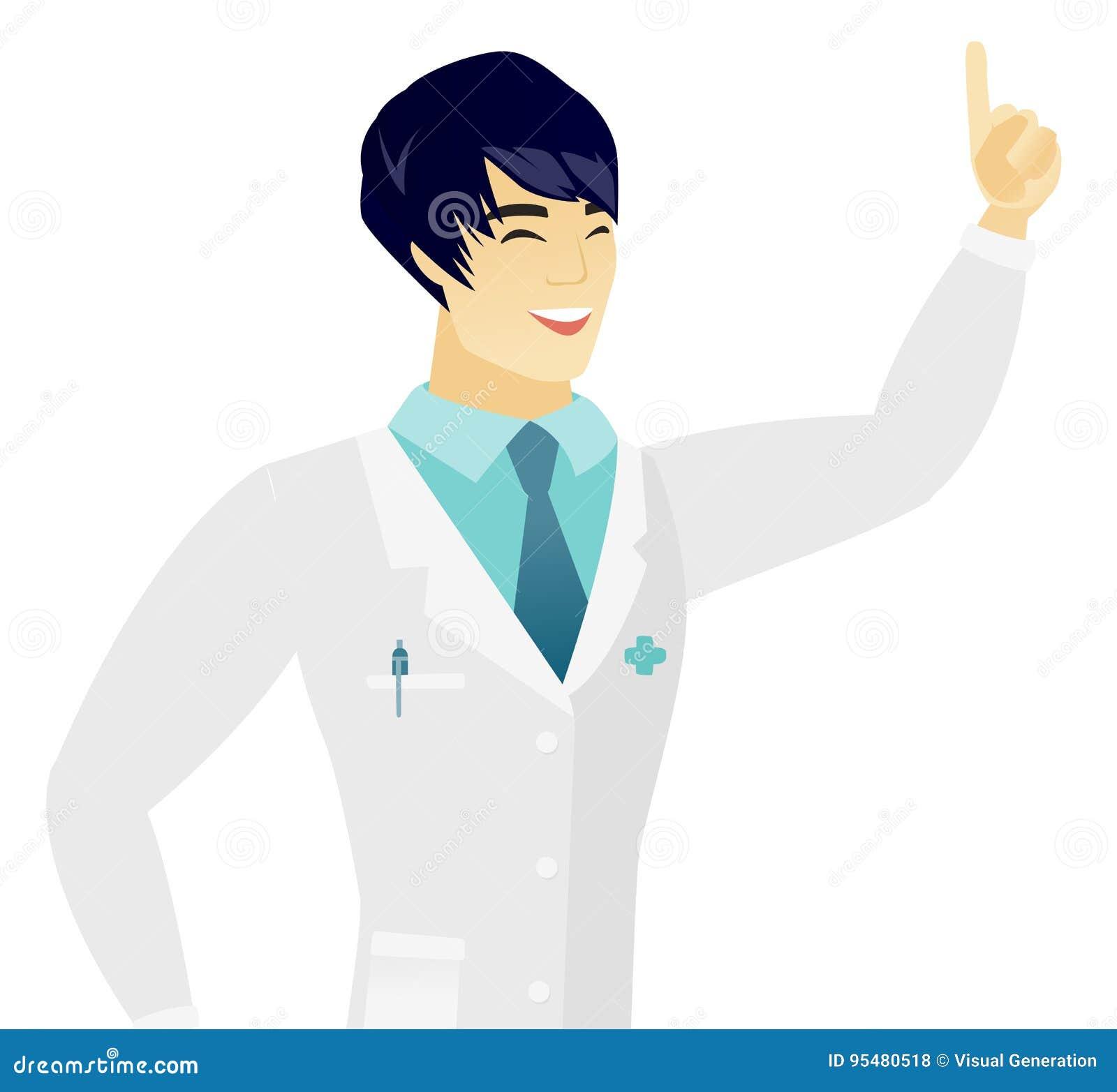Młodego azjata doktorski wskazywać z jego forefinger